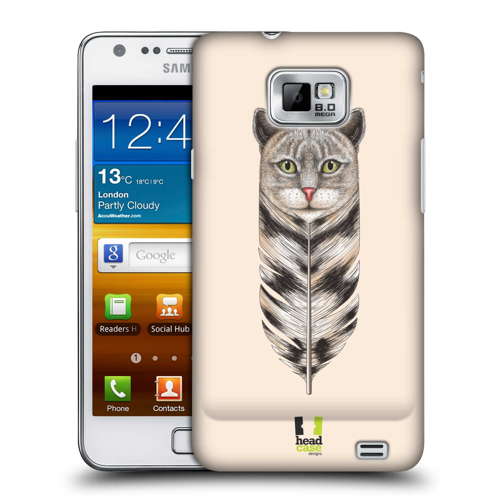 Plastové pouzdro na mobil Samsung Galaxy S II HEAD CASE PÍRKO KOČKA (Kryt či obal na mobilní telefon Samsung Galaxy S II GT-i9100)