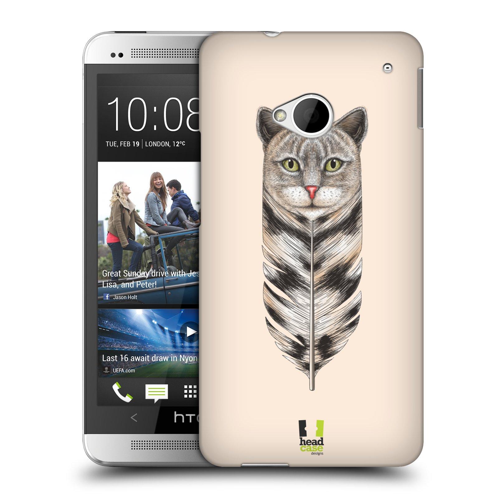 Plastové pouzdro na mobil HTC ONE M7 HEAD CASE PÍRKO KOČKA (Kryt či obal na mobilní telefon HTC ONE M7)