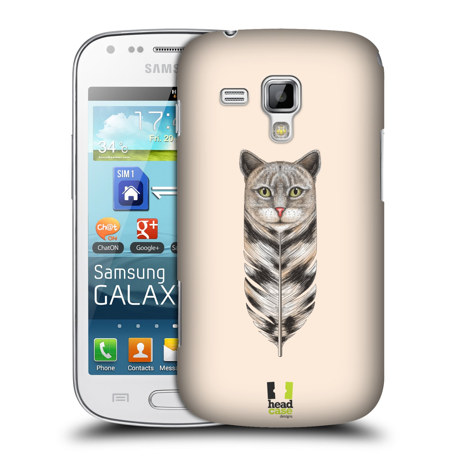Plastové pouzdro na mobil Samsung Galaxy S Duos HEAD CASE PÍRKO KOČKA (Kryt či obal na mobilní telefon Samsung Galaxy S Duos GT-S7562)