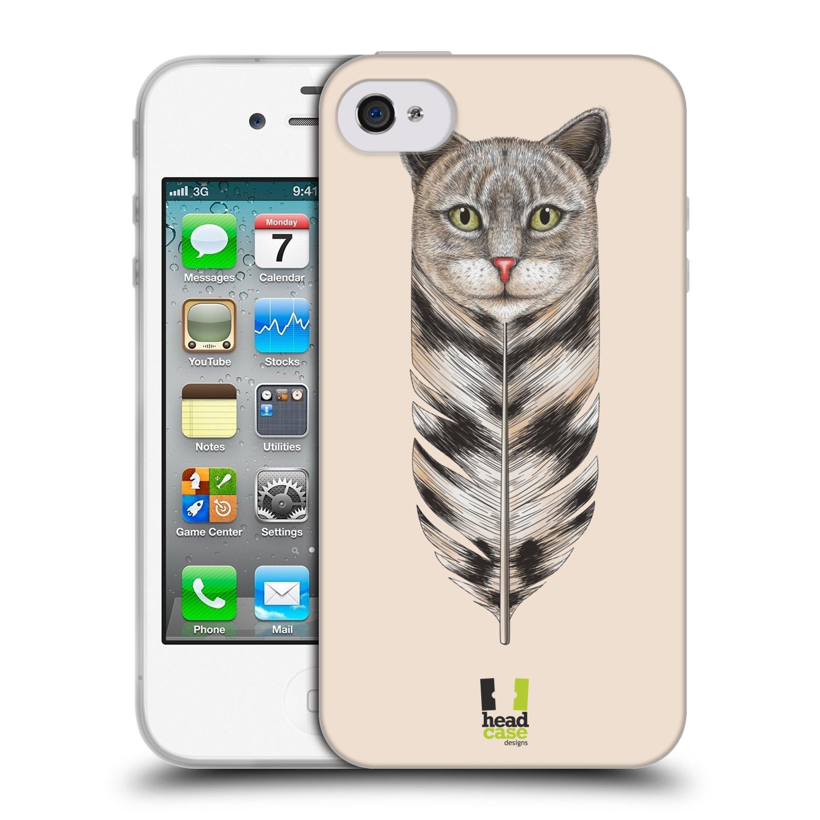 Silikonové pouzdro na mobil Apple iPhone 4 a 4S HEAD CASE PÍRKO KOČKA (Silikonový kryt či obal na mobilní telefon Apple iPhone 4 a 4S)