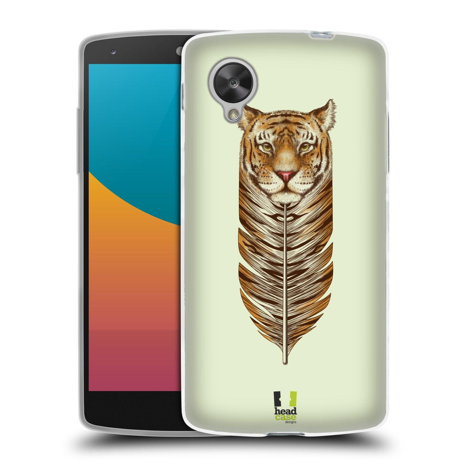 Silikonové pouzdro na mobil LG Nexus 5 HEAD CASE PÍRKO TYGR (Silikonový kryt či obal na mobilní telefon LG Google Nexus 5 D821)