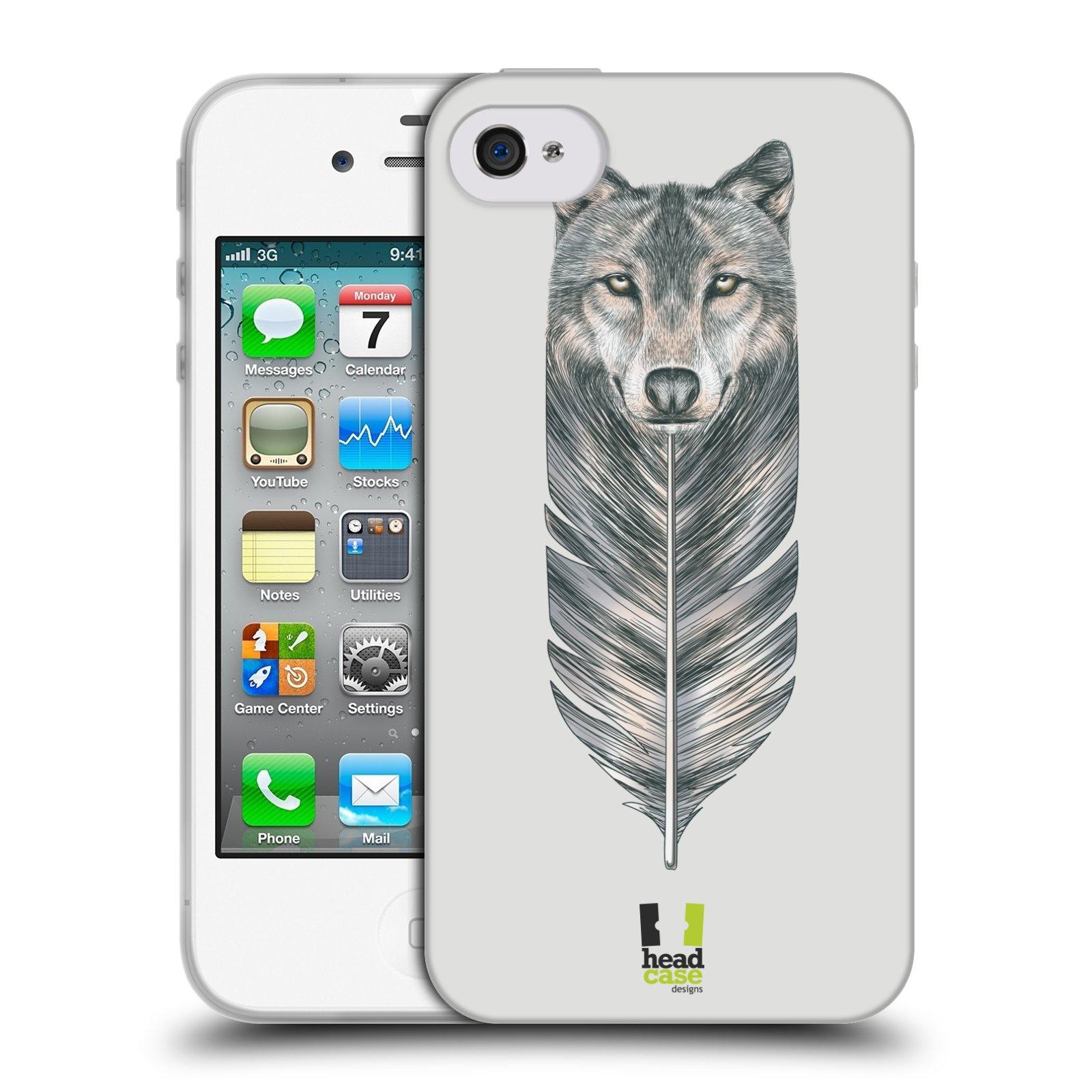 Silikonové pouzdro na mobil Apple iPhone 4 a 4S HEAD CASE PÍRKO VLK (Silikonový kryt či obal na mobilní telefon Apple iPhone 4 a 4S)