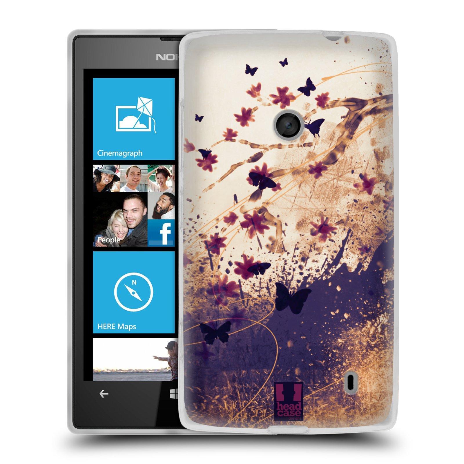 Silikonové pouzdro na mobil Nokia Lumia 520 HEAD CASE MOTÝLCI (Silikonový Kryt či obal na mobilní telefon Nokia Lumia 520)