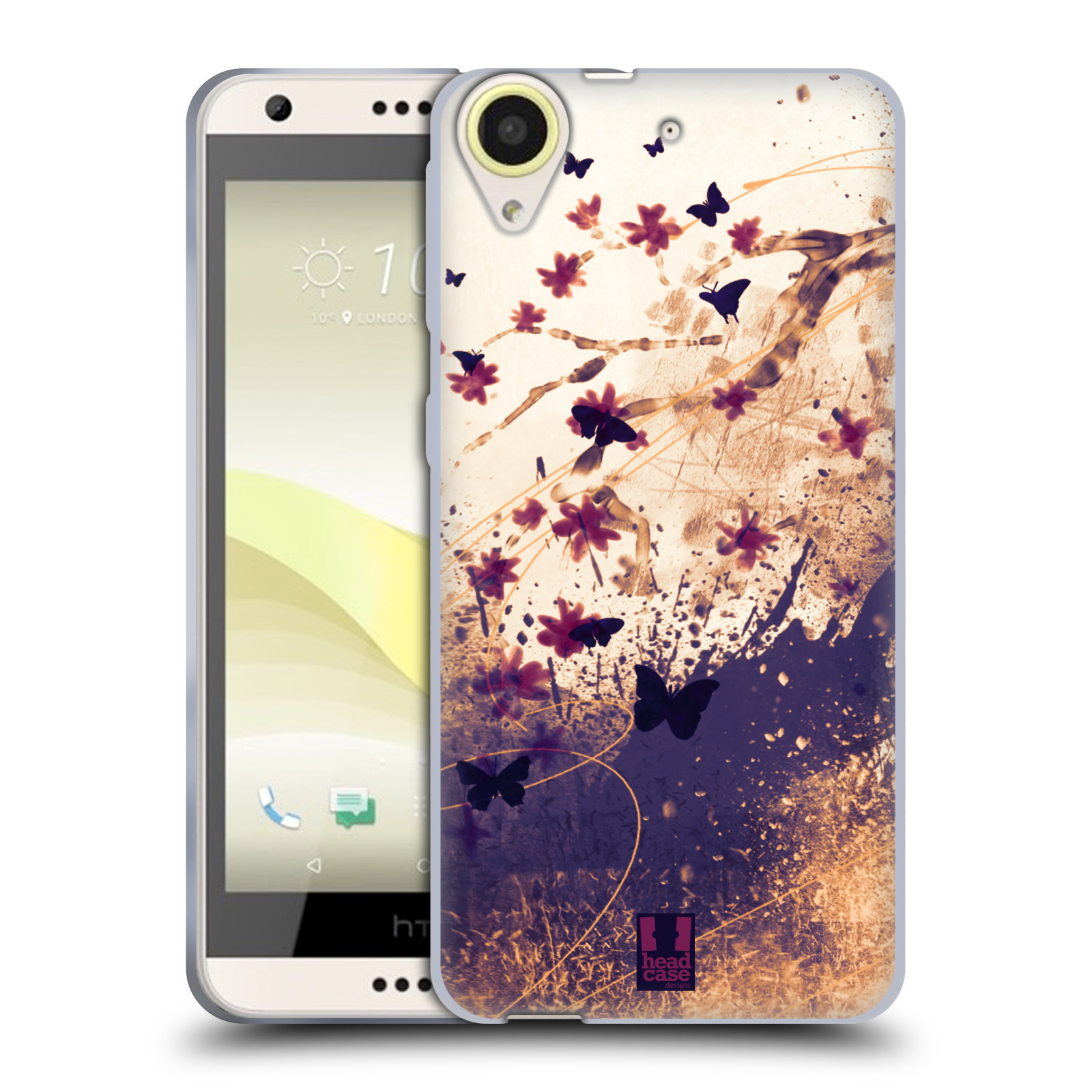 Silikonové pouzdro na mobil HTC Desire 650 HEAD CASE MOTÝLCI (Silikonový kryt či obal na mobilní telefon HTC Desire 650)
