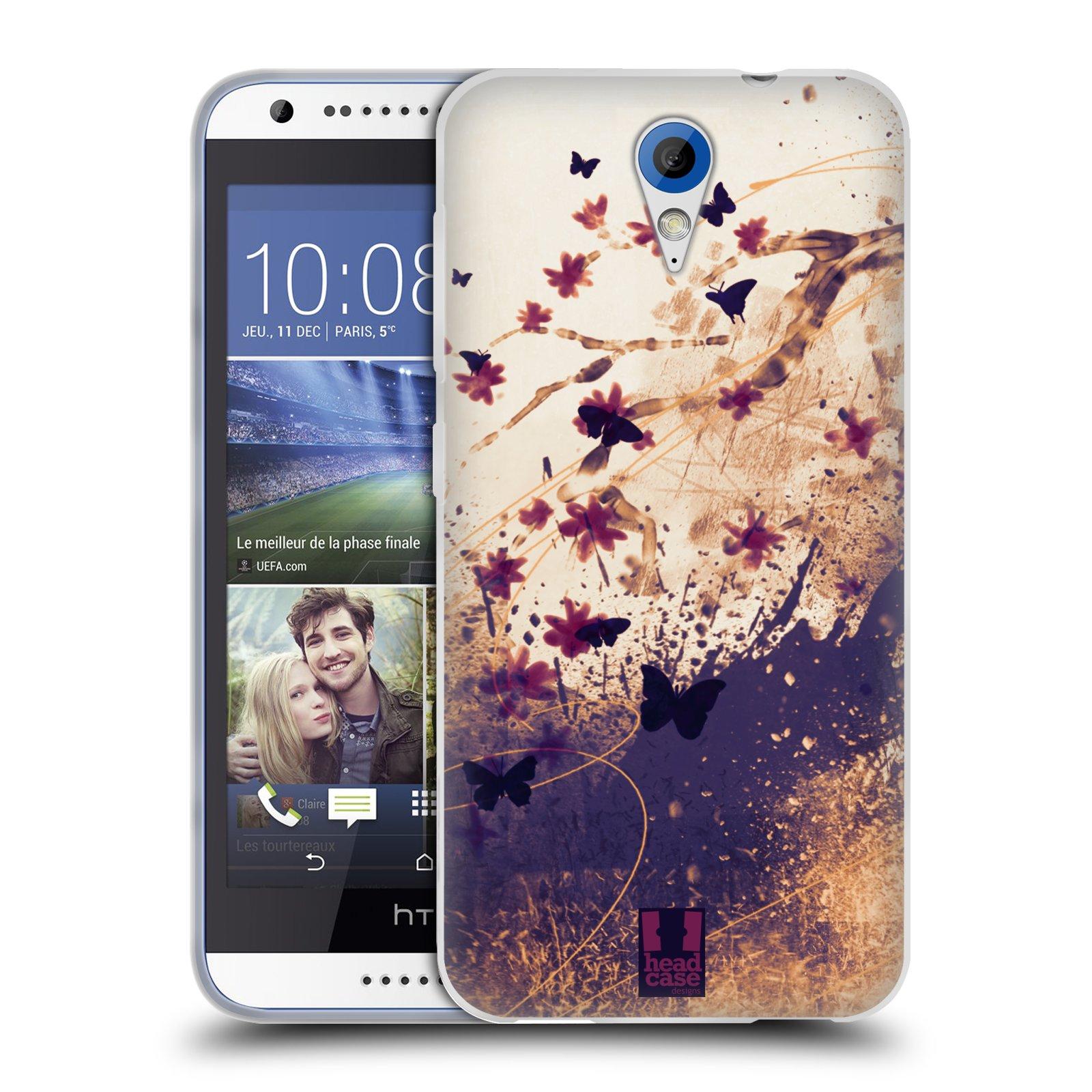 Silikonové pouzdro na mobil HTC Desire 620 HEAD CASE MOTÝLCI (Silikonový kryt či obal na mobilní telefon HTC Desire 620)