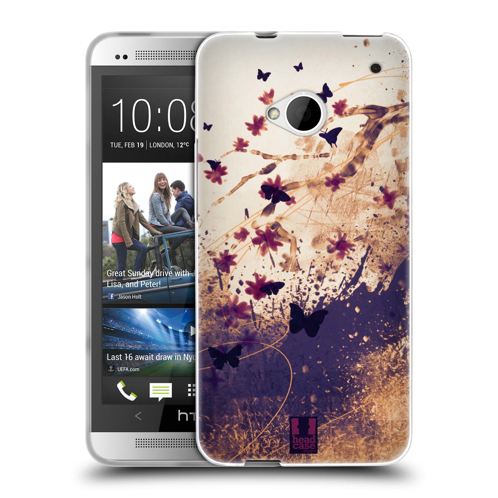 Silikonové pouzdro na mobil HTC ONE M7 HEAD CASE MOTÝLCI (Silikonový kryt či obal na mobilní telefon HTC ONE M7)