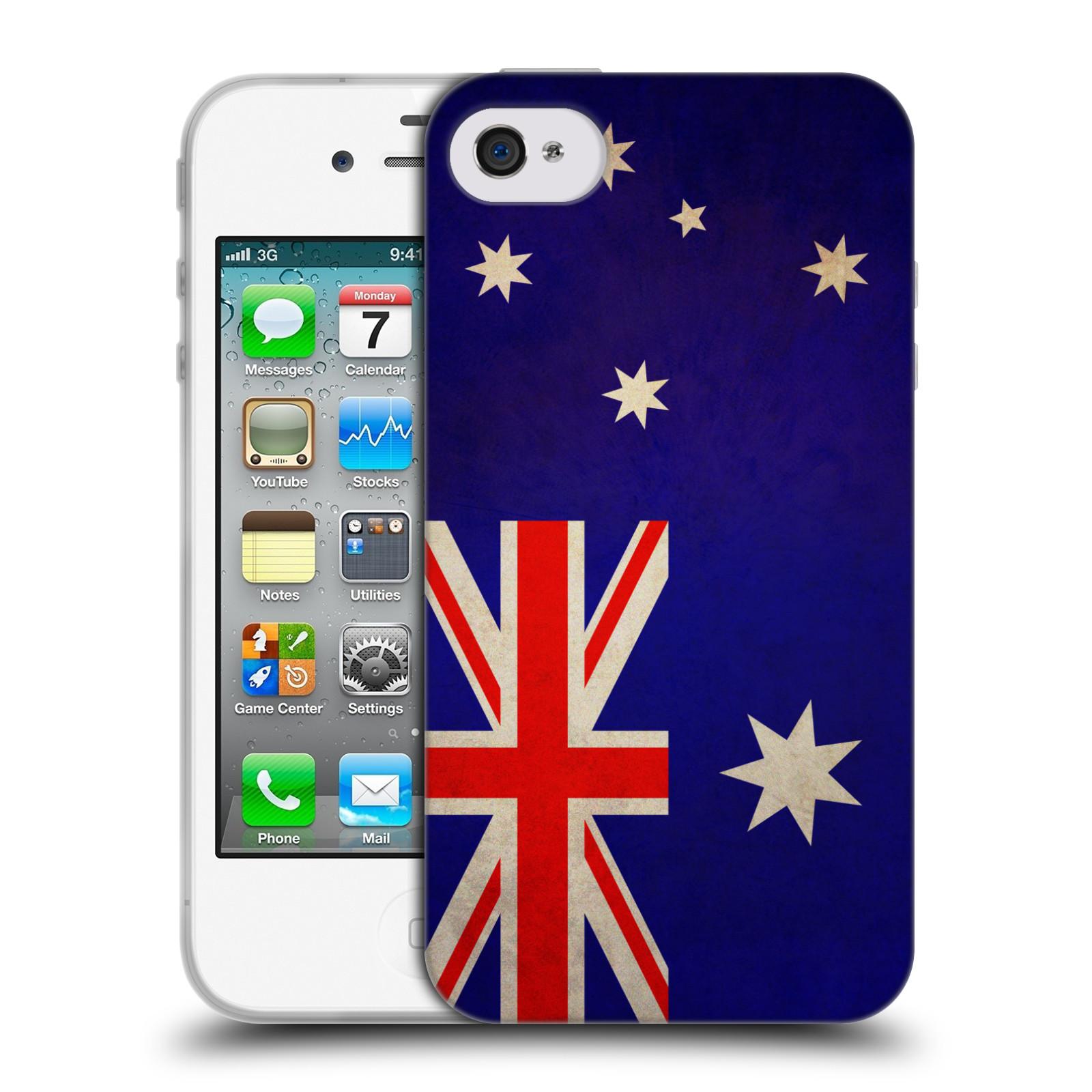 Silikonové pouzdro na mobil Apple iPhone 4 a 4S HEAD CASE VLAJKA AUSTRÁLIE (Silikonový kryt či obal na mobilní telefon Apple iPhone 4 a 4S)