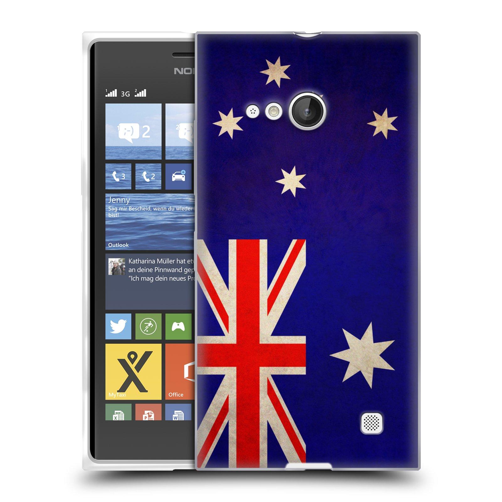 Silikonové pouzdro na mobil Nokia Lumia 730 Dual SIM HEAD CASE VLAJKA AUSTRÁLIE (Silikonový kryt či obal na mobilní telefon Nokia Lumia 730 Dual SIM)