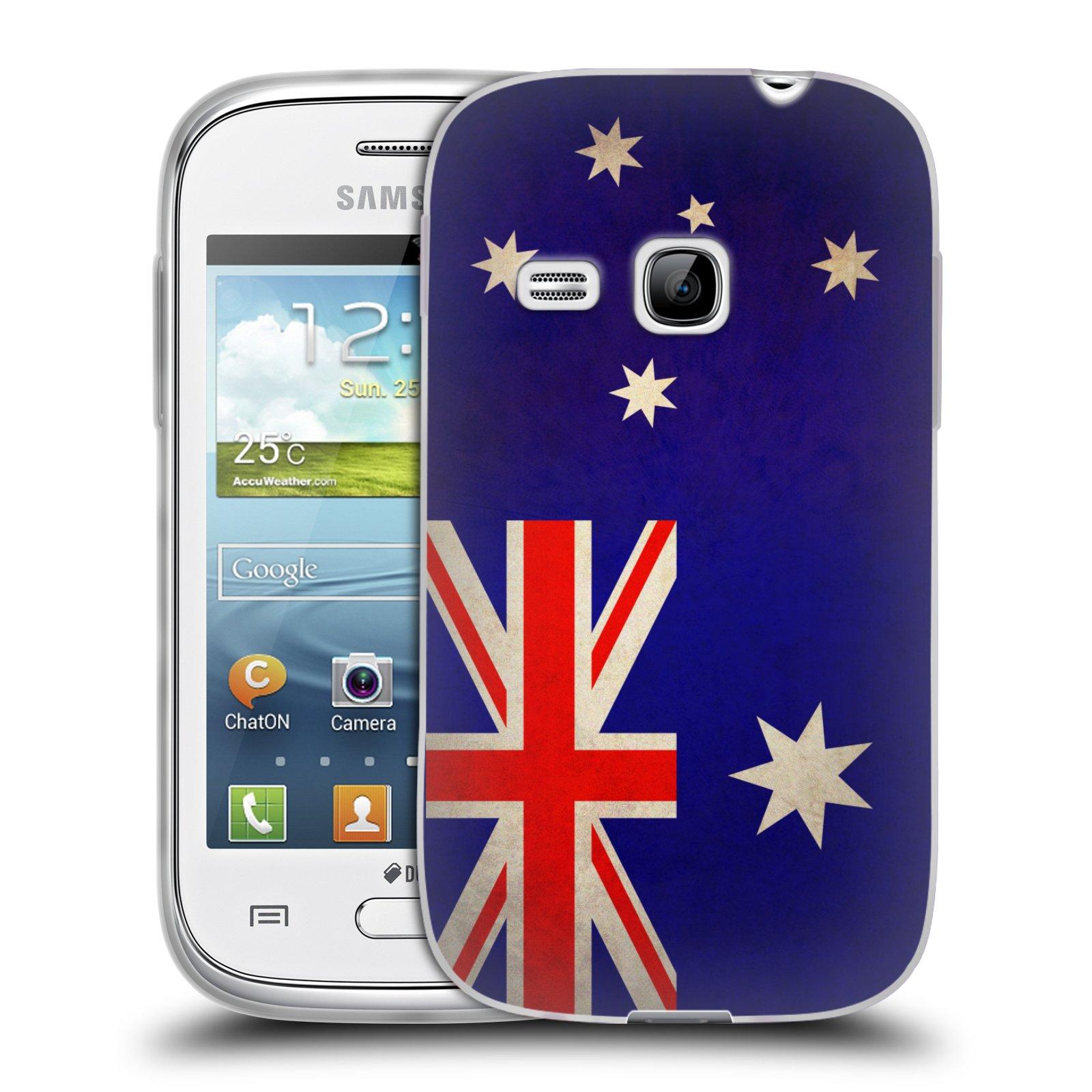 Silikonové pouzdro na mobil Samsung Galaxy Young HEAD CASE VLAJKA AUSTRÁLIE (Silikonový kryt či obal na mobilní telefon Samsung Galaxy Young GT-S6310)