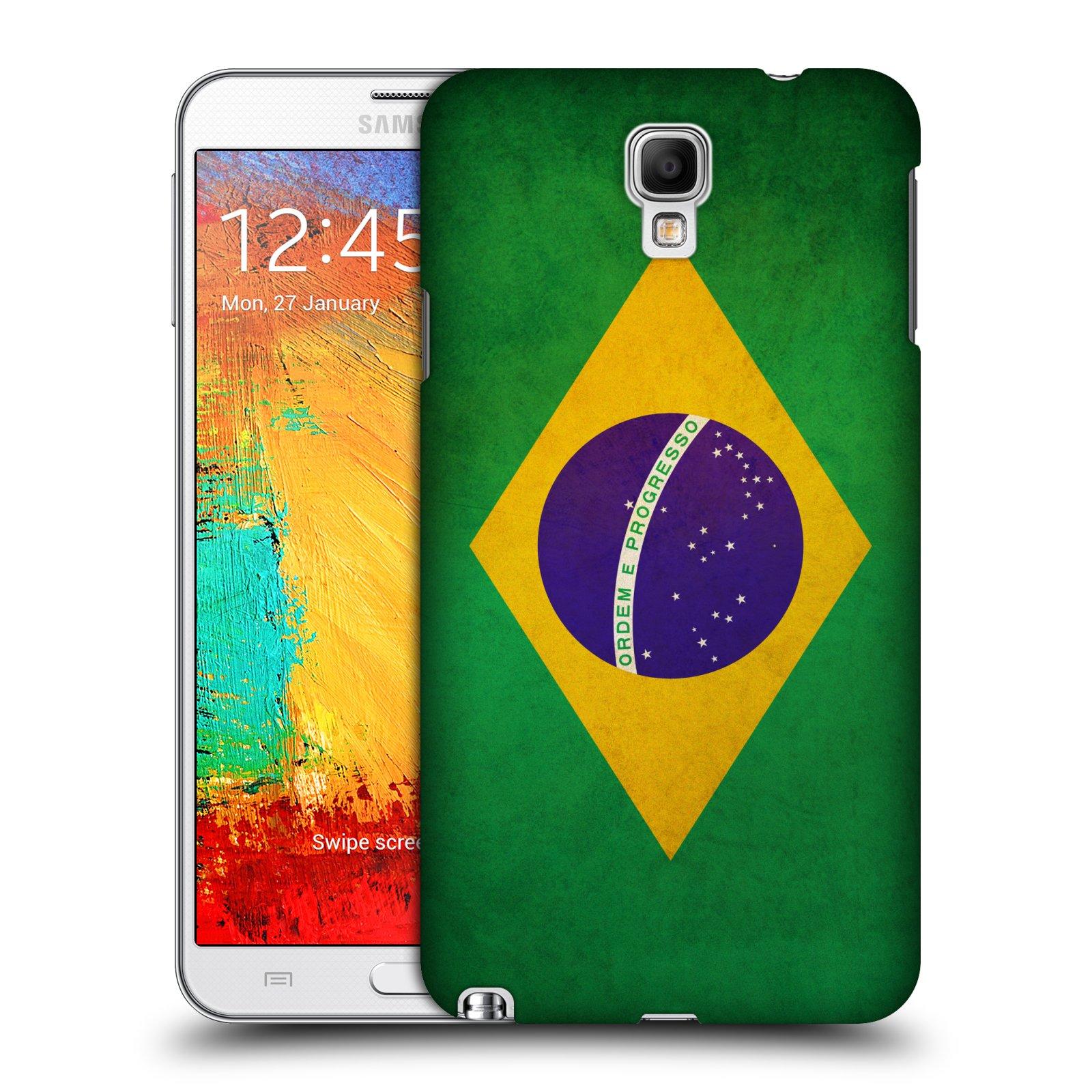 Plastové pouzdro na mobil Samsung Galaxy Note 3 Neo HEAD CASE VLAJKA BRAZÍLIE (Kryt či obal na mobilní telefon Samsung Galaxy Note 3 Neo SM-N7505)