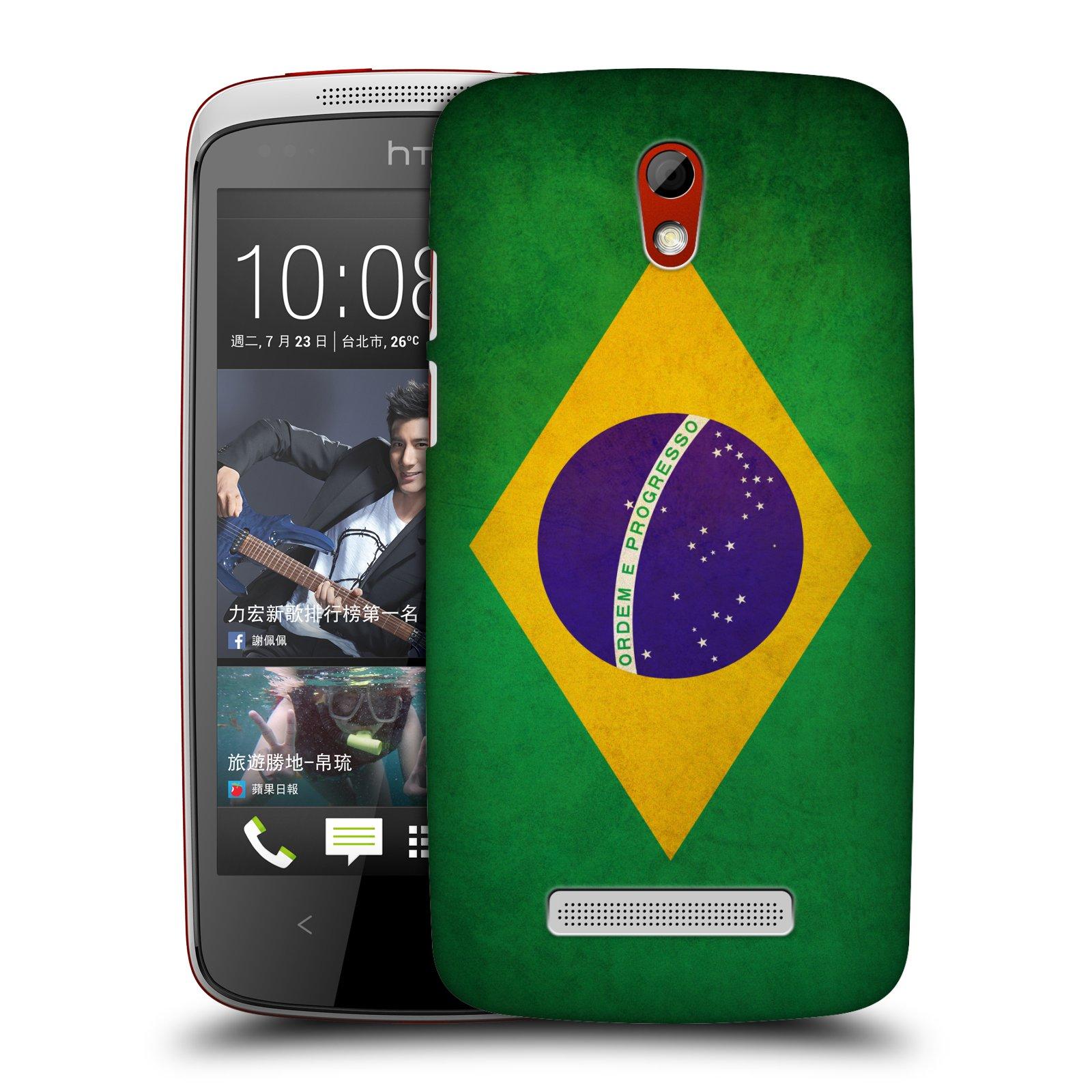 Plastové pouzdro na mobil HTC Desire 500 HEAD CASE VLAJKA BRAZÍLIE (Kryt či obal na mobilní telefon HTC Desire 500)