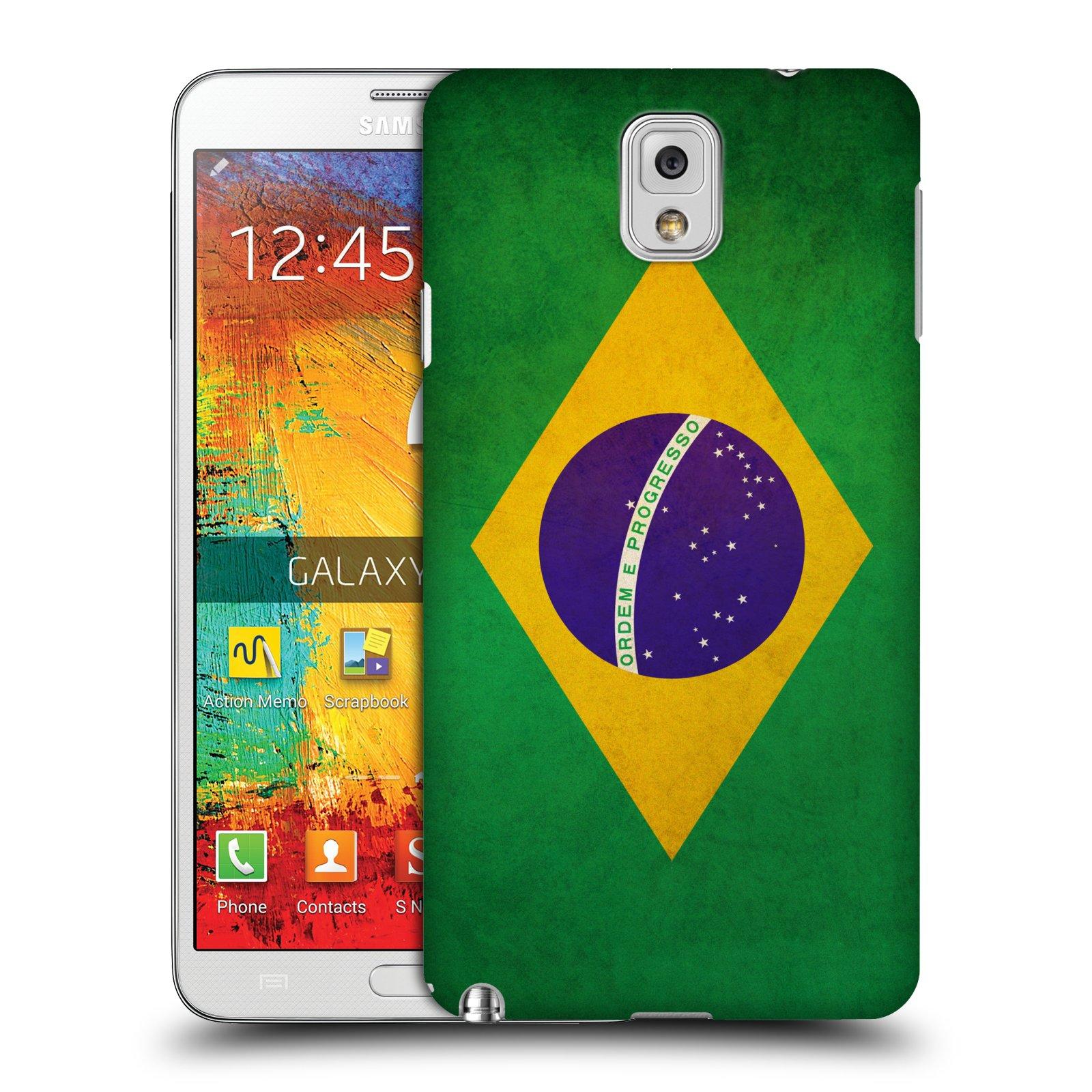 Plastové pouzdro na mobil Samsung Galaxy Note 3 HEAD CASE VLAJKA BRAZÍLIE (Kryt či obal na mobilní telefon Samsung Galaxy Note 3 SM-N9005)