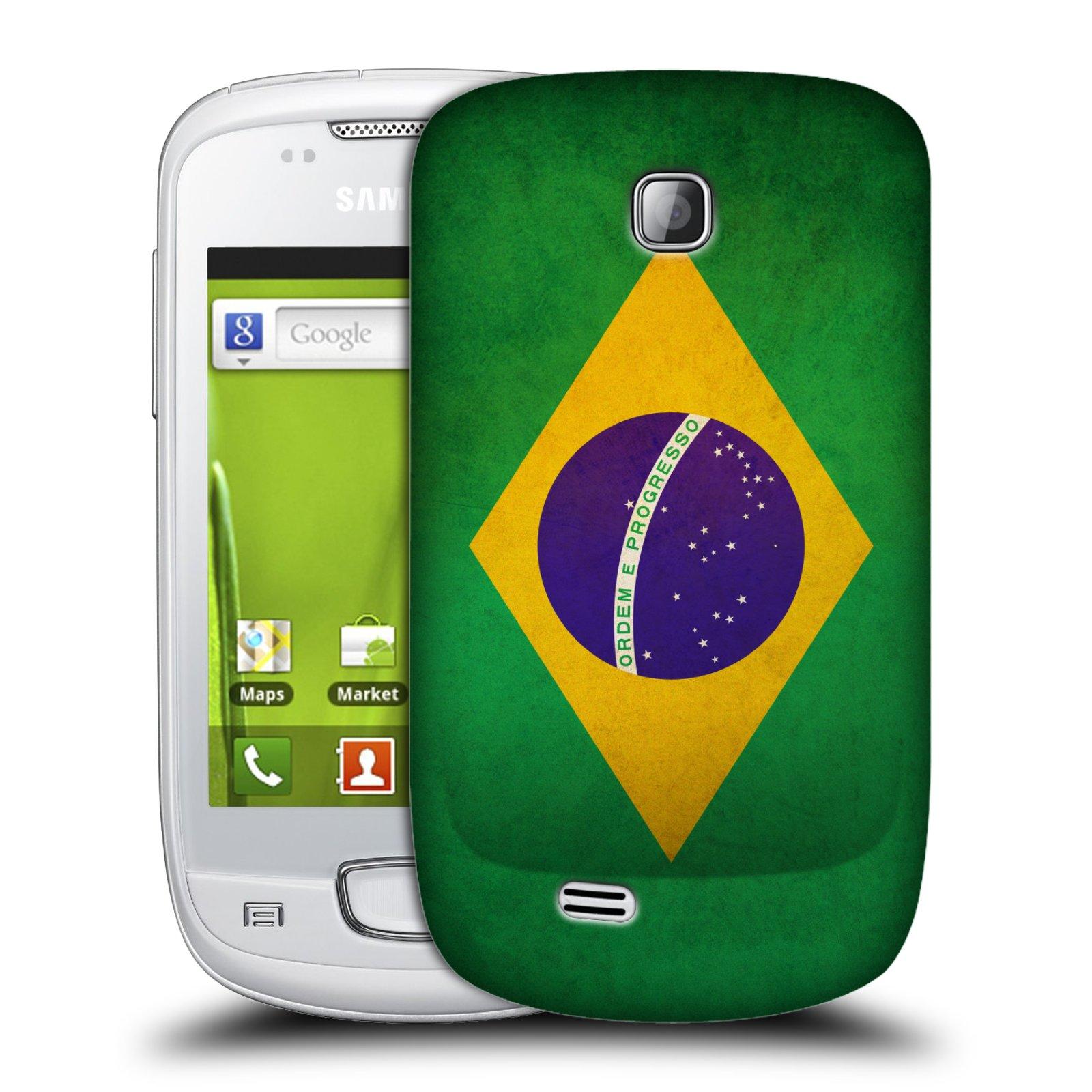 Plastové pouzdro na mobil Samsung Galaxy Mini HEAD CASE VLAJKA BRAZÍLIE (Kryt či obal na mobilní telefon Samsung Galaxy Mini GT-S5570 / GT-S5570i)