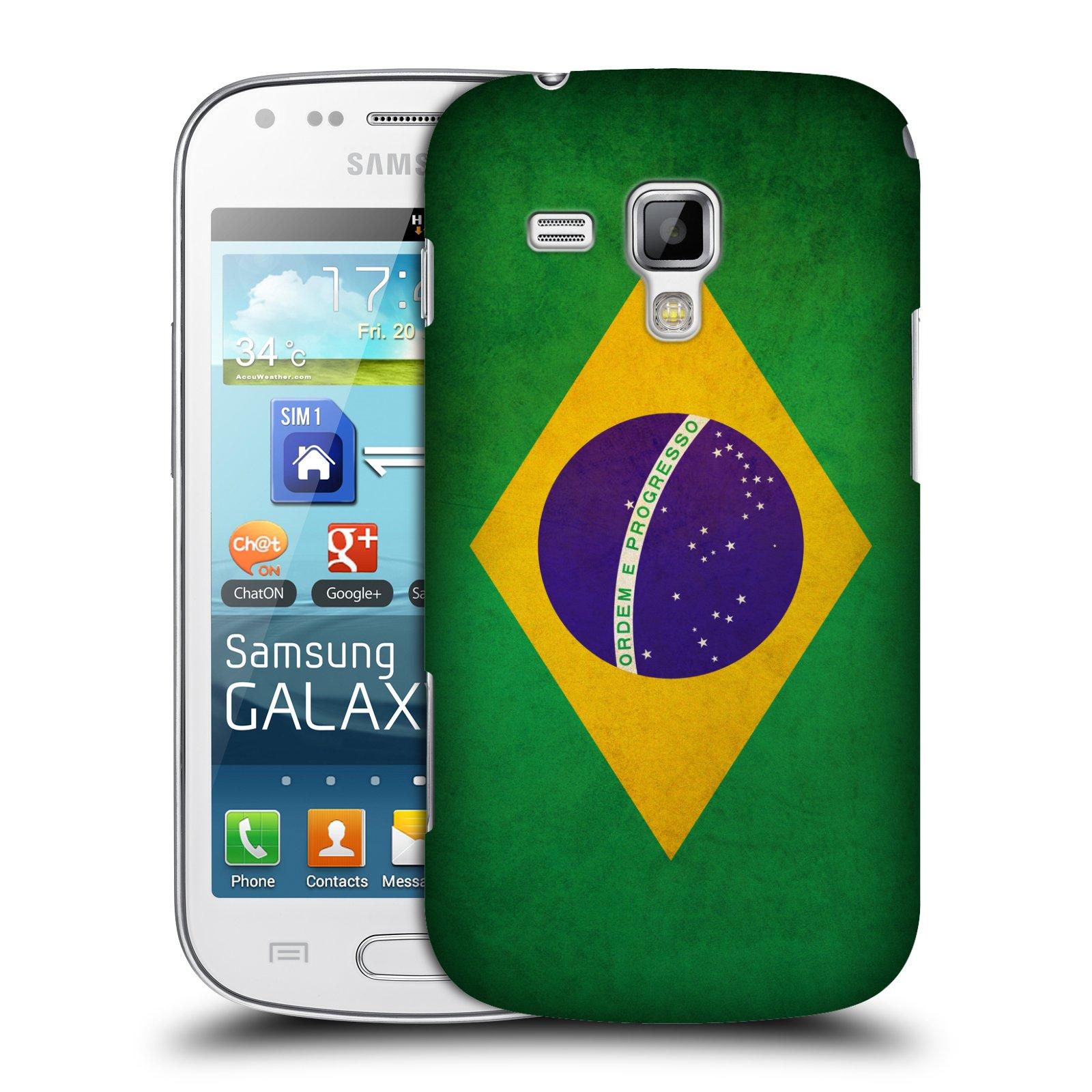 Plastové pouzdro na mobil Samsung Galaxy S Duos HEAD CASE VLAJKA BRAZÍLIE (Kryt či obal na mobilní telefon Samsung Galaxy S Duos GT-S7562)
