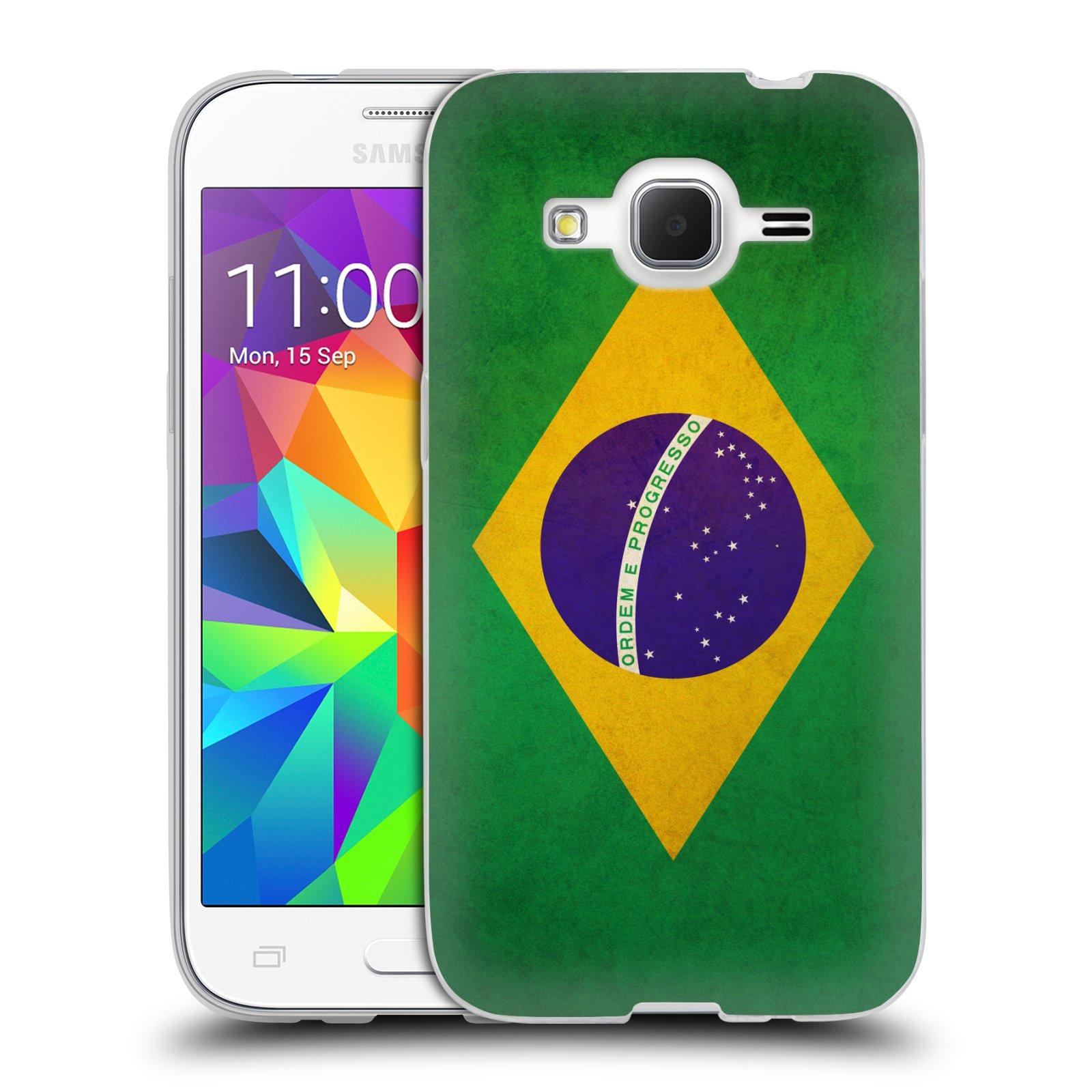Silikonové pouzdro na mobil Samsung Galaxy Core Prime VE HEAD CASE VLAJKA BRAZÍLIE