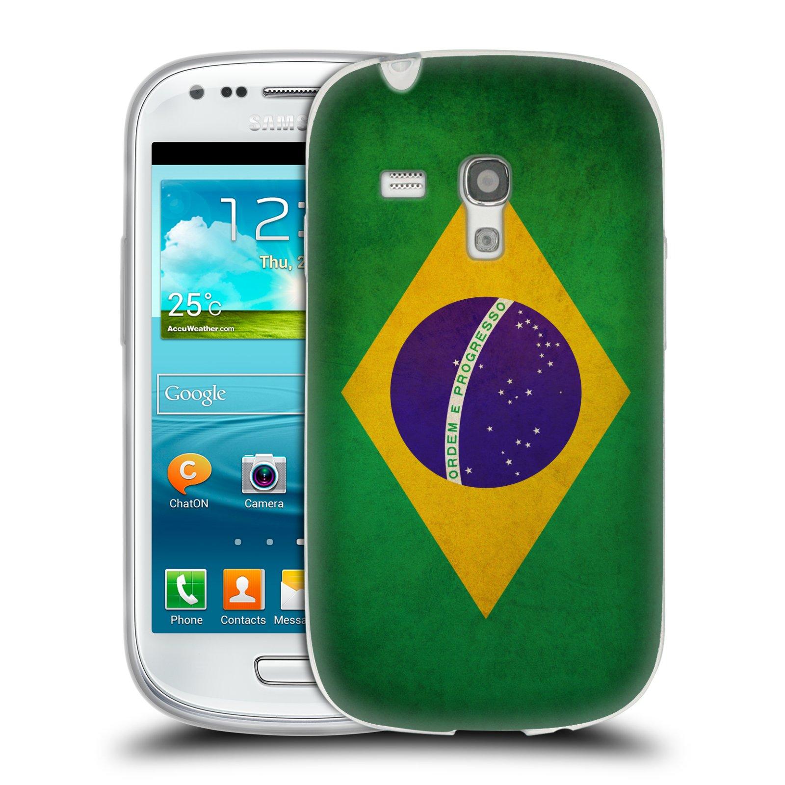 Silikonové pouzdro na mobil Samsung Galaxy S III Mini HEAD CASE VLAJKA BRAZÍLIE (Silikonový kryt či obal na mobilní telefon Samsung Galaxy S III Mini GT-i8190)