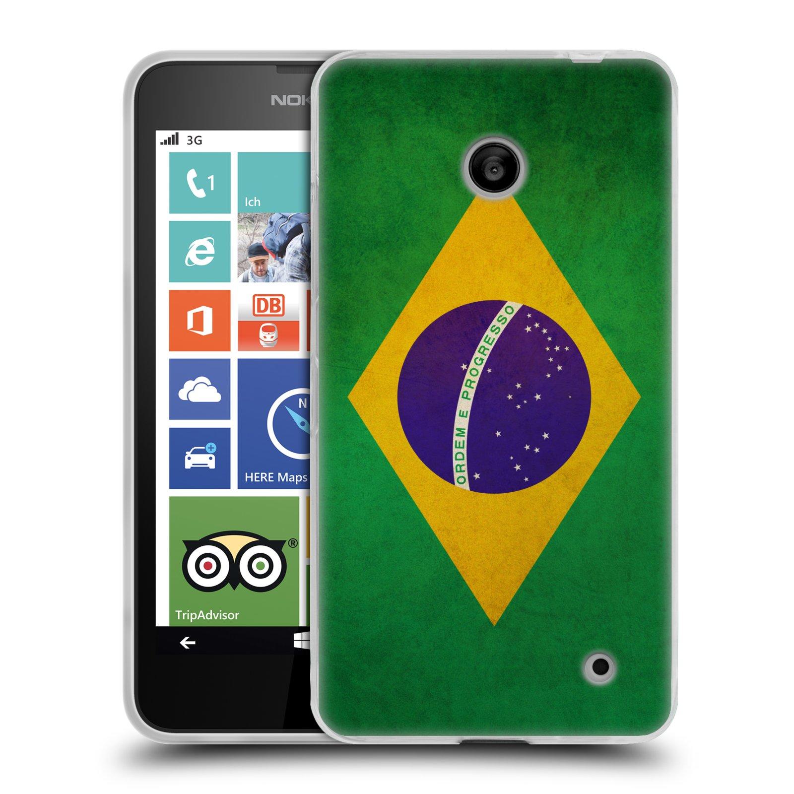 Silikonové pouzdro na mobil Nokia Lumia 630 HEAD CASE VLAJKA BRAZÍLIE (Silikonový kryt či obal na mobilní telefon Nokia Lumia 630 a Nokia Lumia 630 Dual SIM)