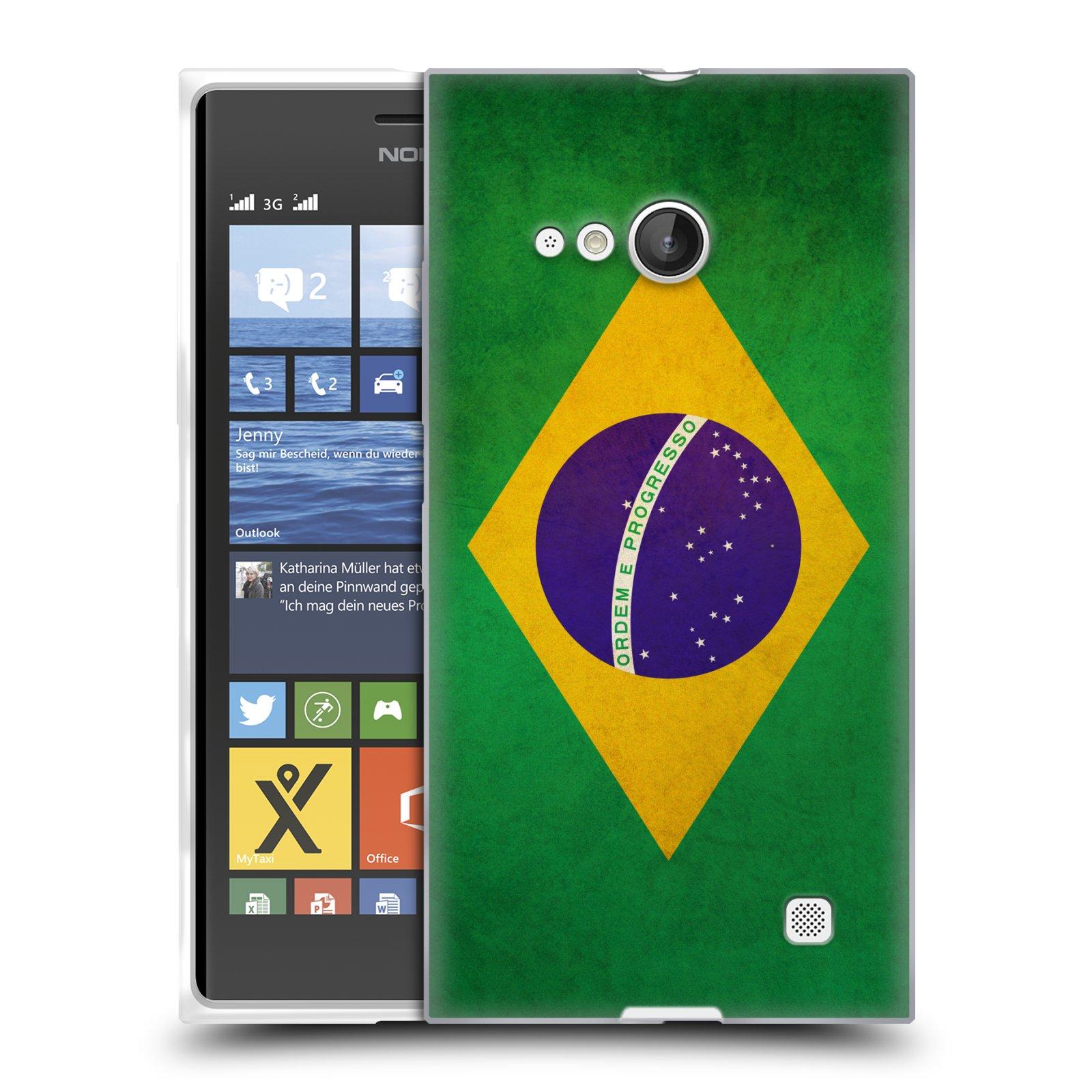 Silikonové pouzdro na mobil Nokia Lumia 730 Dual SIM HEAD CASE VLAJKA BRAZÍLIE (Silikonový kryt či obal na mobilní telefon Nokia Lumia 730 Dual SIM)