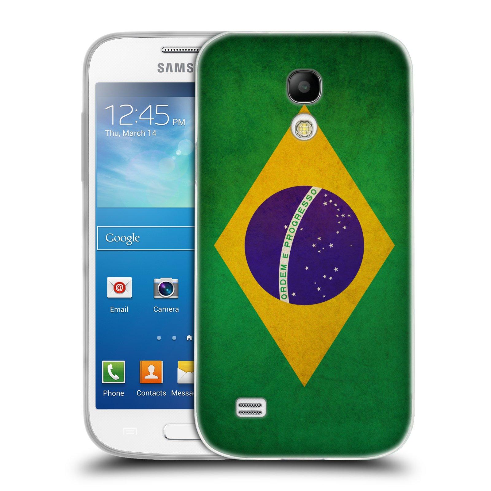 Silikonové pouzdro na mobil Samsung Galaxy S4 Mini HEAD CASE VLAJKA BRAZÍLIE (Silikonový kryt či obal na mobilní telefon Samsung Galaxy S4 Mini GT-i9195 / i9190)
