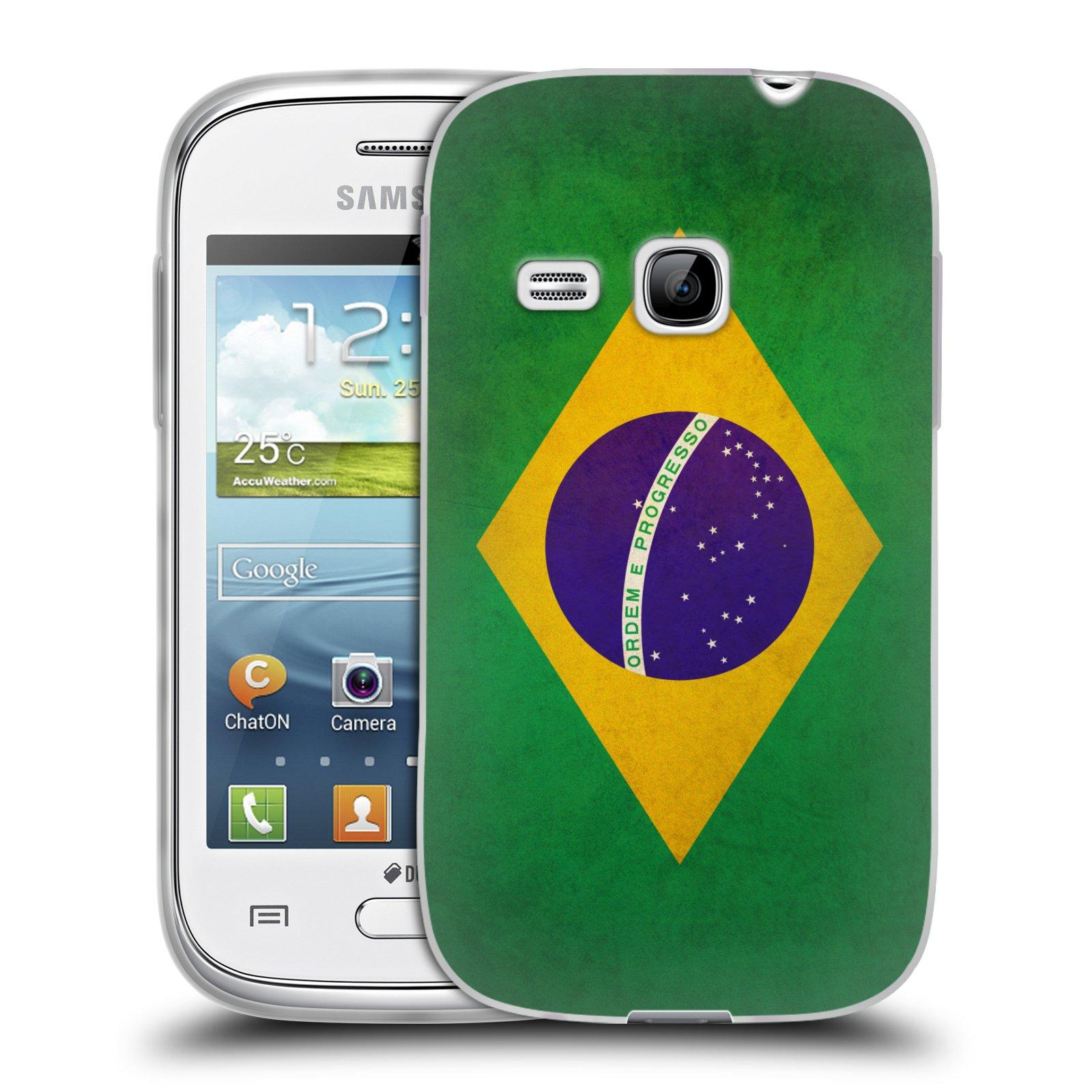 Silikonové pouzdro na mobil Samsung Galaxy Young HEAD CASE VLAJKA BRAZÍLIE (Silikonový kryt či obal na mobilní telefon Samsung Galaxy Young GT-S6310)