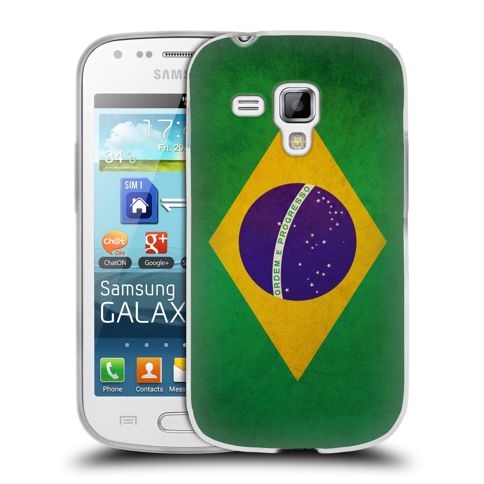 Silikonové pouzdro na mobil Samsung Galaxy S Duos HEAD CASE VLAJKA BRAZÍLIE (Silikonový kryt či obal na mobilní telefon Samsung Galaxy S Duos GT-S7562)