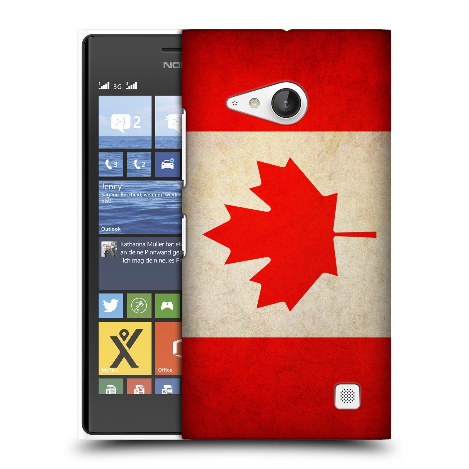 Plastové pouzdro na mobil Nokia Lumia 730 Dual SIM HEAD CASE VLAJKA KANADA (Kryt či obal na mobilní telefon Nokia Lumia 730 Dual SIM)