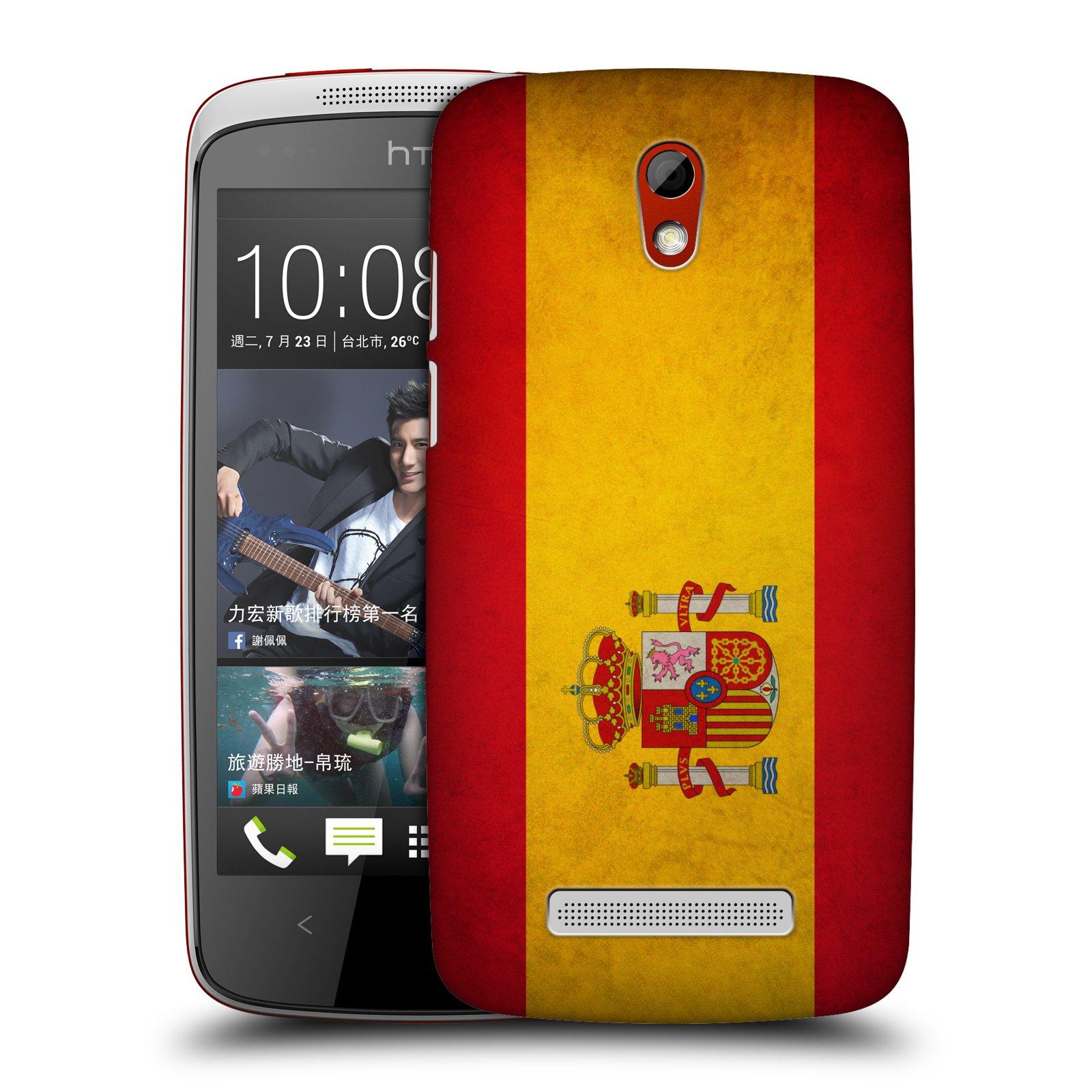 Plastové pouzdro na mobil HTC Desire 500 HEAD CASE VLAJKA ŠPANĚLSKO (Kryt či obal na mobilní telefon HTC Desire 500)