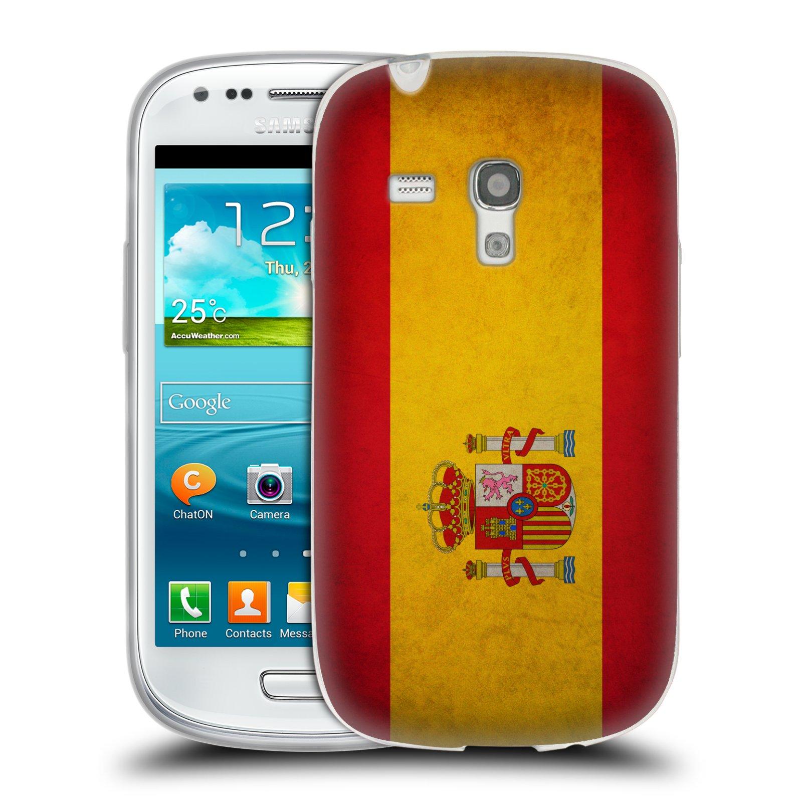 Silikonové pouzdro na mobil Samsung Galaxy S III Mini HEAD CASE VLAJKA ŠPANĚLSKO (Silikonový kryt či obal na mobilní telefon Samsung Galaxy S III Mini GT-i8190)