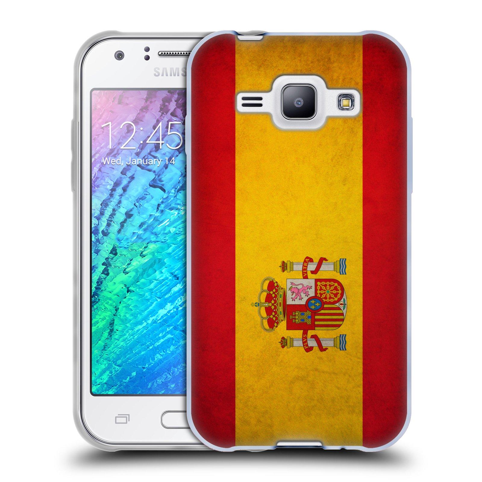 Silikonové pouzdro na mobil Samsung Galaxy J1 HEAD CASE VLAJKA ŠPANĚLSKO (Silikonový kryt či obal na mobilní telefon Samsung Galaxy J1 a J1 Duos)