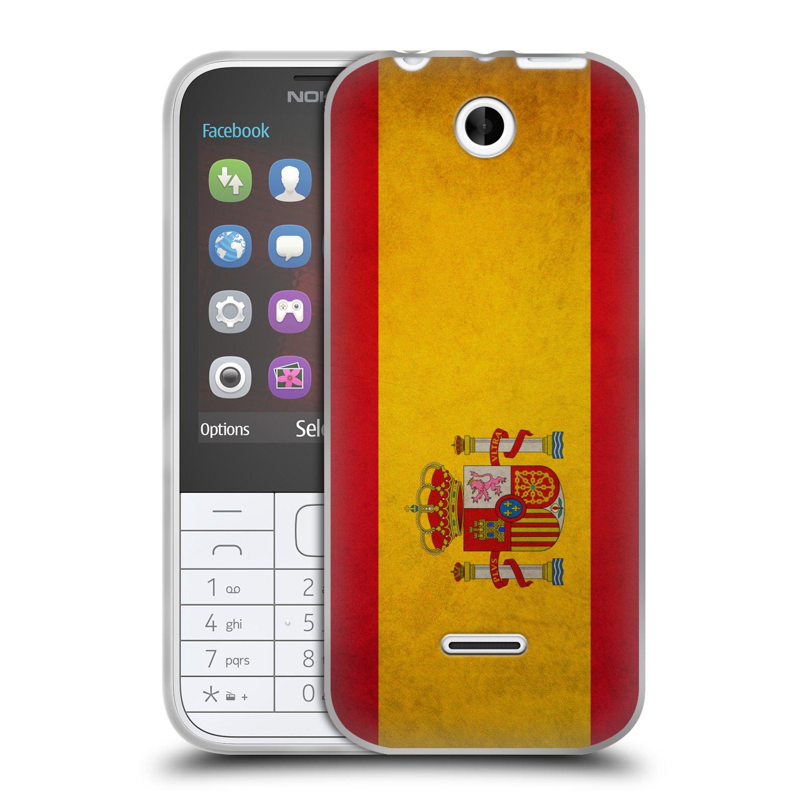 Silikonové pouzdro na mobil Nokia 225 HEAD CASE VLAJKA ŠPANĚLSKO (Silikonový kryt či obal na mobilní telefon Nokia 225)