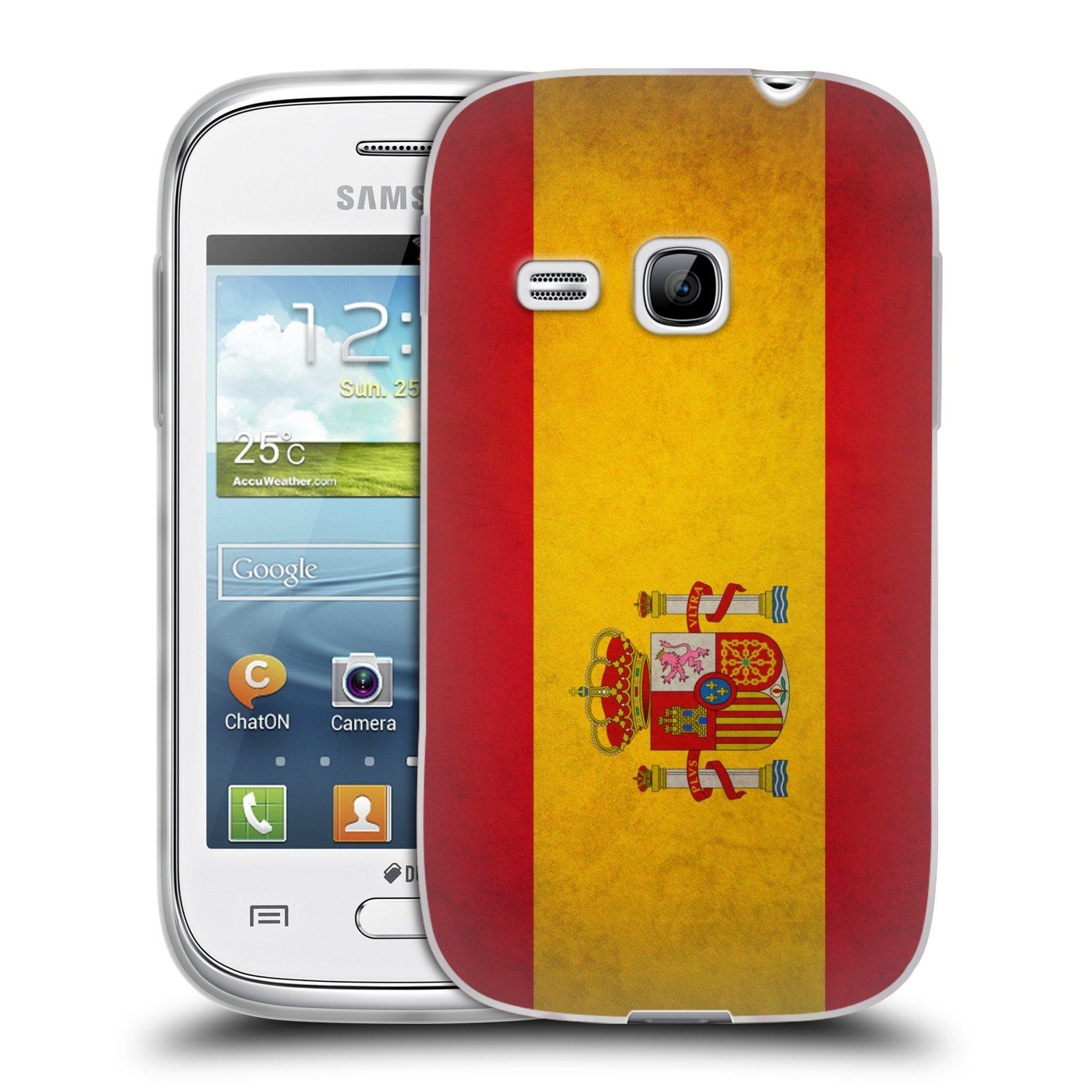 Silikonové pouzdro na mobil Samsung Galaxy Young HEAD CASE VLAJKA ŠPANĚLSKO (Silikonový kryt či obal na mobilní telefon Samsung Galaxy Young GT-S6310)