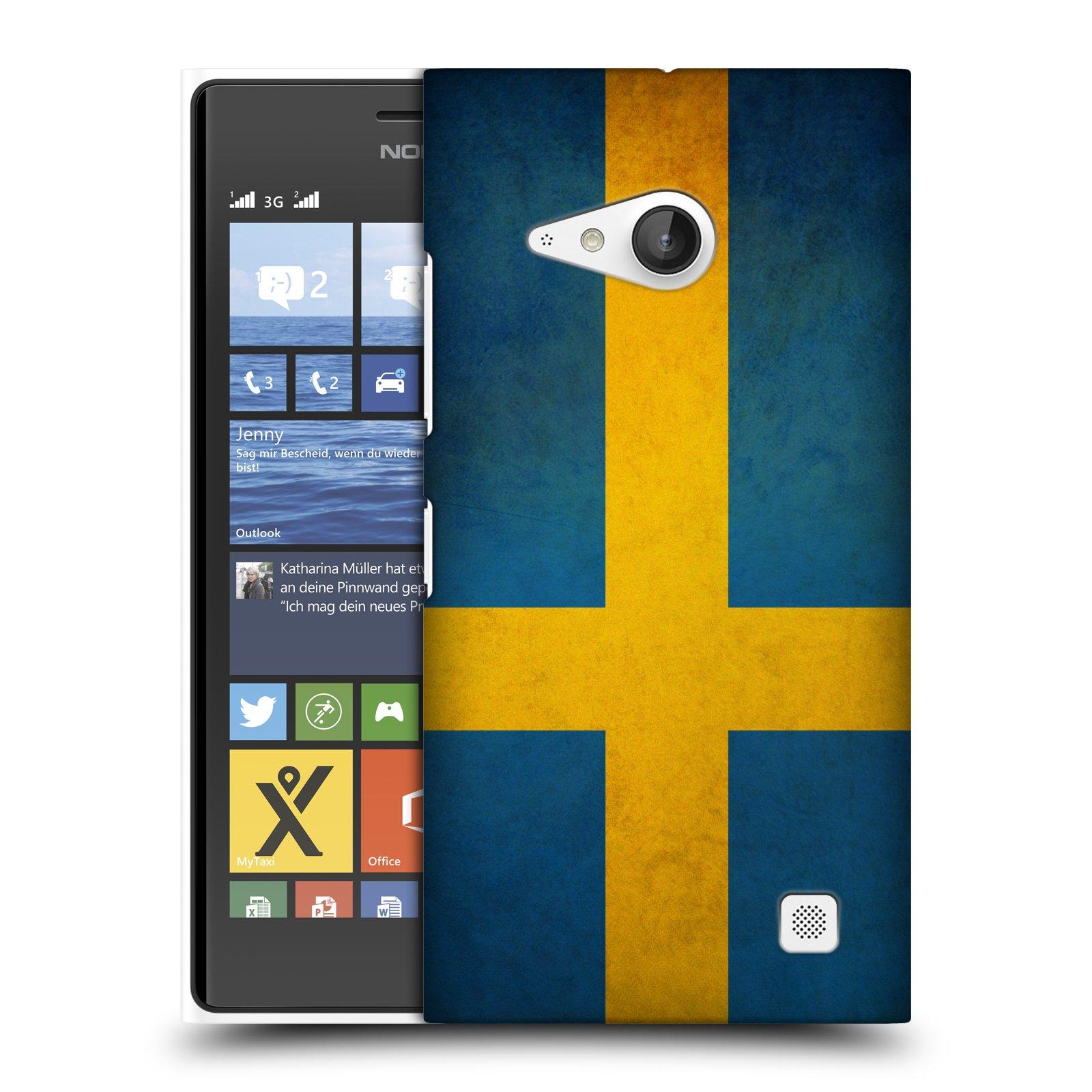Plastové pouzdro na mobil Nokia Lumia 730 Dual SIM HEAD CASE VLAJKA ŠVÉDSKO (Kryt či obal na mobilní telefon Nokia Lumia 730 Dual SIM)