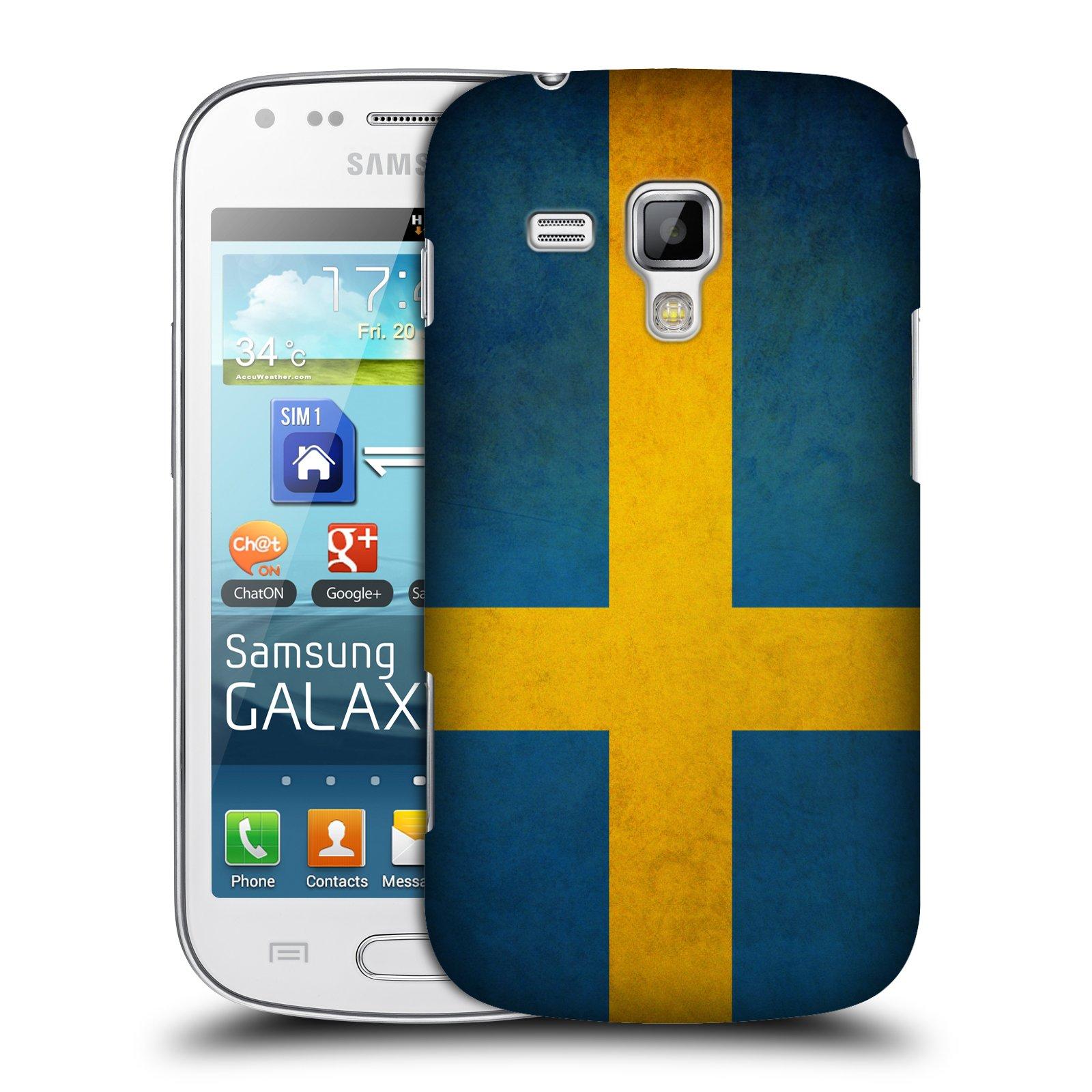 Plastové pouzdro na mobil Samsung Galaxy S Duos HEAD CASE VLAJKA ŠVÉDSKO (Kryt či obal na mobilní telefon Samsung Galaxy S Duos GT-S7562)