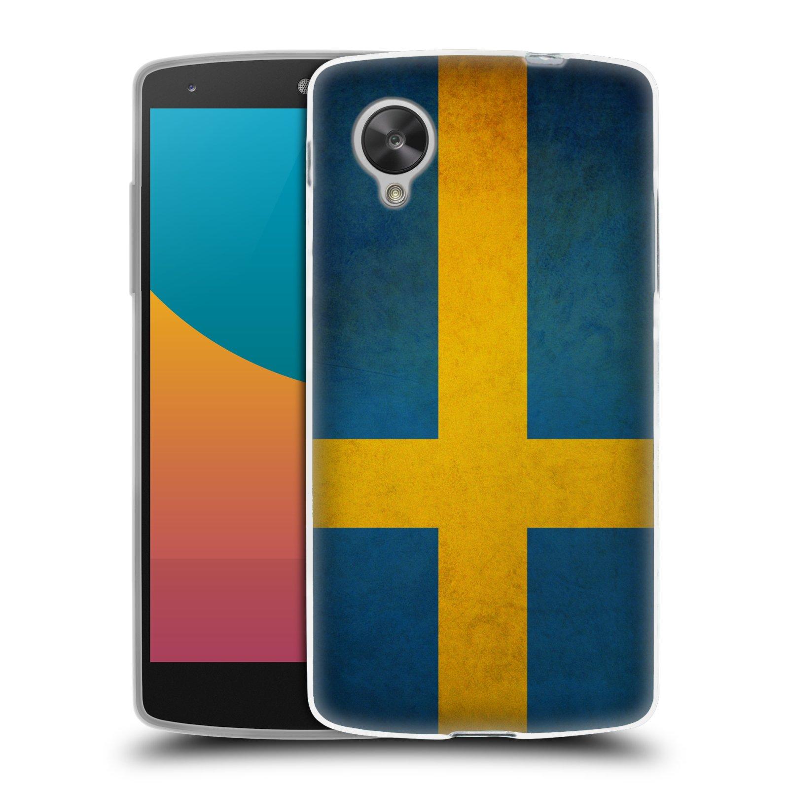 Silikonové pouzdro na mobil LG Nexus 5 HEAD CASE VLAJKA ŠVÉDSKO (Silikonový kryt či obal na mobilní telefon LG Google Nexus 5 D821)