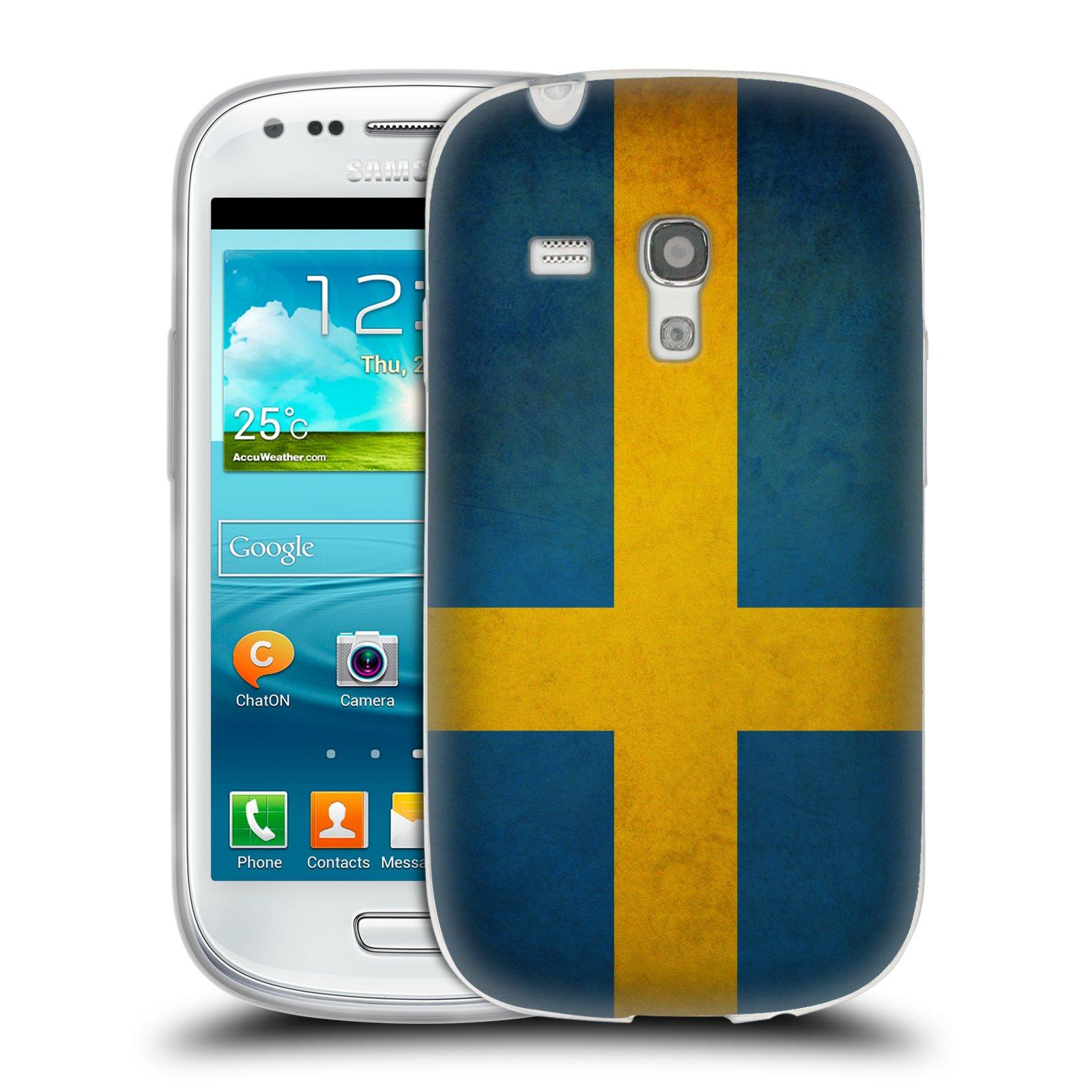 Silikonové pouzdro na mobil Samsung Galaxy S III Mini HEAD CASE VLAJKA ŠVÉDSKO (Silikonový kryt či obal na mobilní telefon Samsung Galaxy S III Mini GT-i8190)