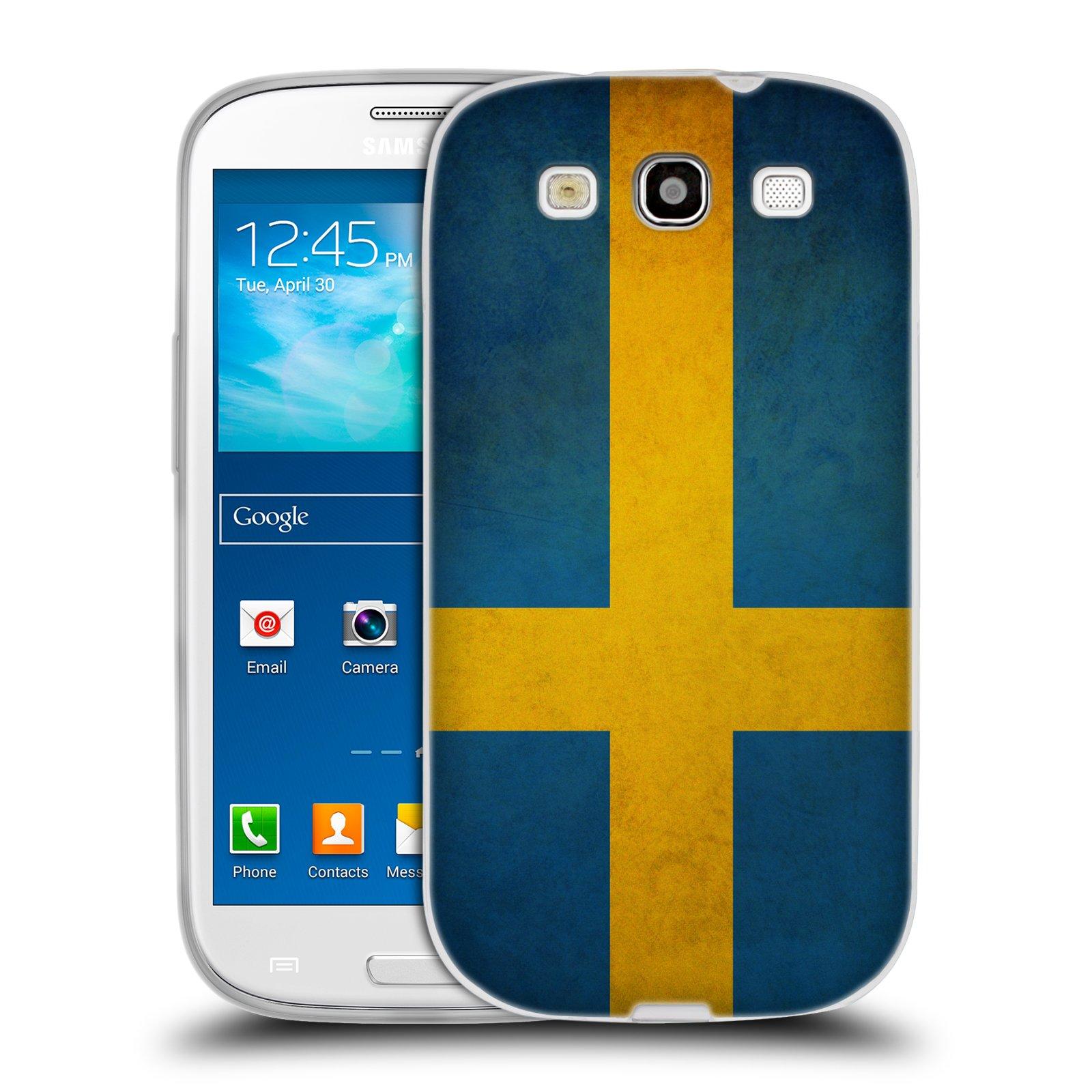 Silikonové pouzdro na mobil Samsung Galaxy S3 Neo HEAD CASE VLAJKA ŠVÉDSKO (Silikonový kryt či obal na mobilní telefon Samsung Galaxy S3 Neo GT-i9301i)