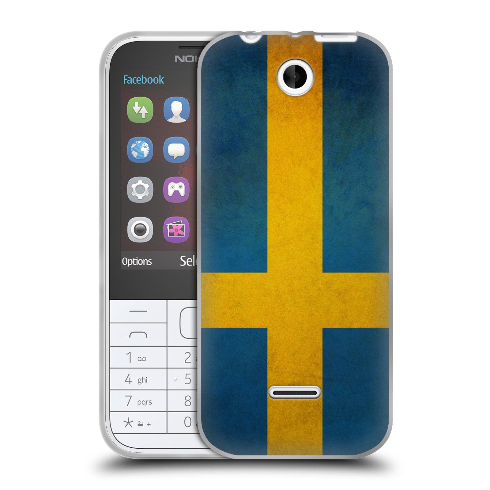 Silikonové pouzdro na mobil Nokia 225 HEAD CASE VLAJKA ŠVÉDSKO (Silikonový kryt či obal na mobilní telefon Nokia 225)