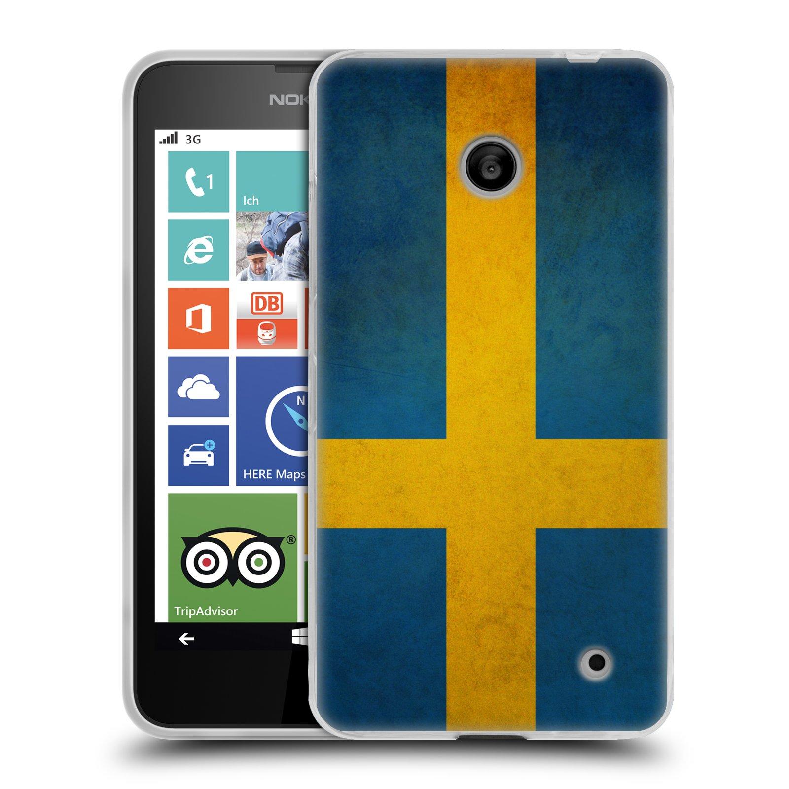 Silikonové pouzdro na mobil Nokia Lumia 630 HEAD CASE VLAJKA ŠVÉDSKO (Silikonový kryt či obal na mobilní telefon Nokia Lumia 630 a Nokia Lumia 630 Dual SIM)