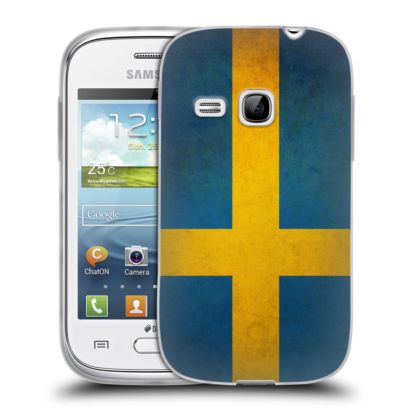 Silikonové pouzdro na mobil Samsung Galaxy Young HEAD CASE VLAJKA ŠVÉDSKO (Silikonový kryt či obal na mobilní telefon Samsung Galaxy Young GT-S6310)