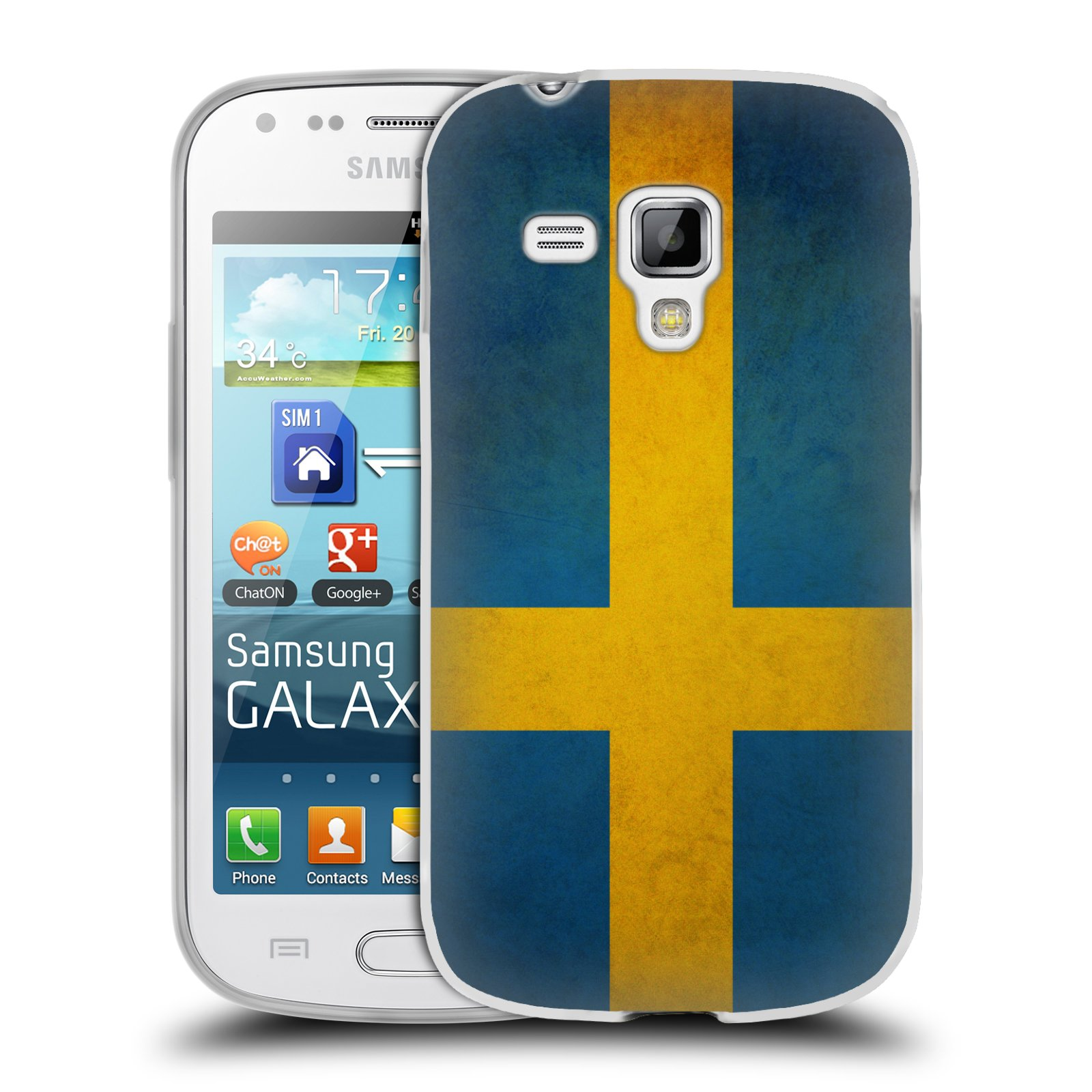 Silikonové pouzdro na mobil Samsung Galaxy Trend Plus HEAD CASE VLAJKA ŠVÉDSKO (Silikonový kryt či obal na mobilní telefon Samsung Galaxy Trend Plus GT-S7580)