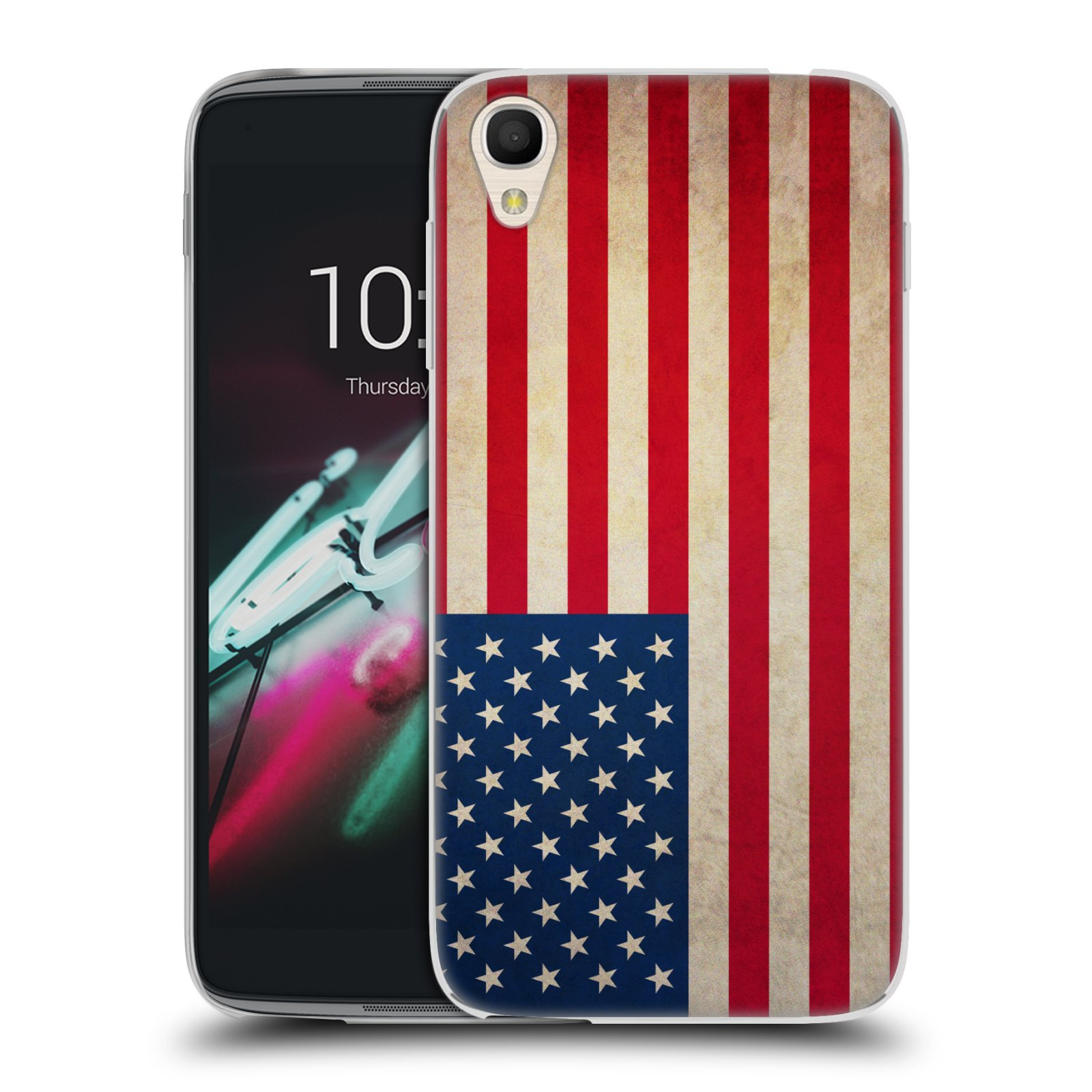 Silikonové pouzdro na mobil Alcatel One Touch 6039Y Idol 3 HEAD CASE VLAJKA USA