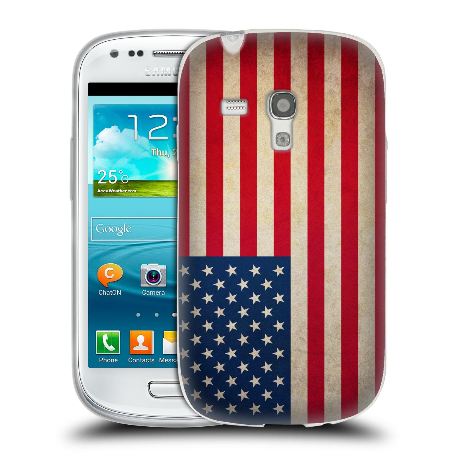 Silikonové pouzdro na mobil Samsung Galaxy S III Mini HEAD CASE VLAJKA USA (Silikonový kryt či obal na mobilní telefon Samsung Galaxy S III Mini GT-i8190)