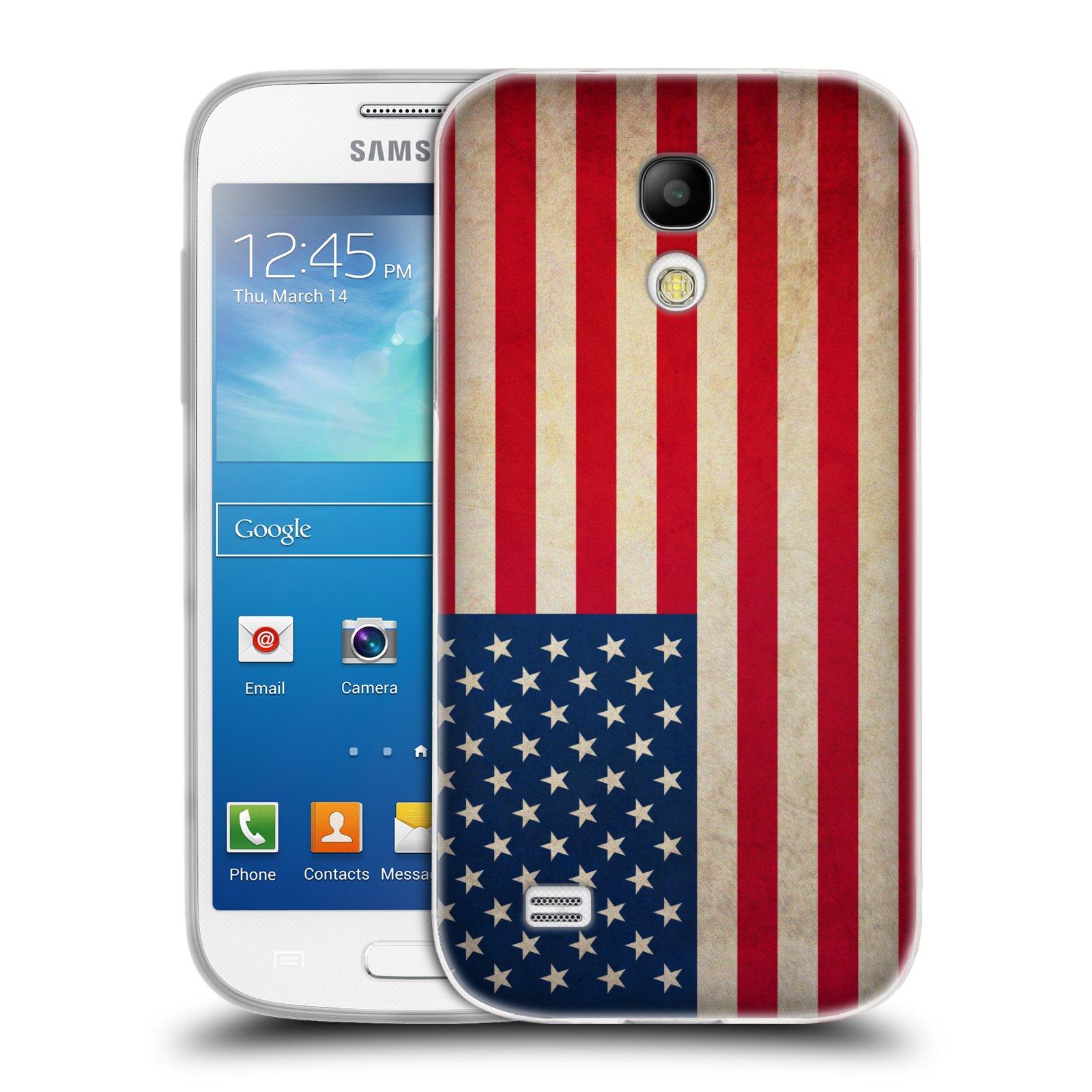 Silikonové pouzdro na mobil Samsung Galaxy S4 Mini VE HEAD CASE VLAJKA USA