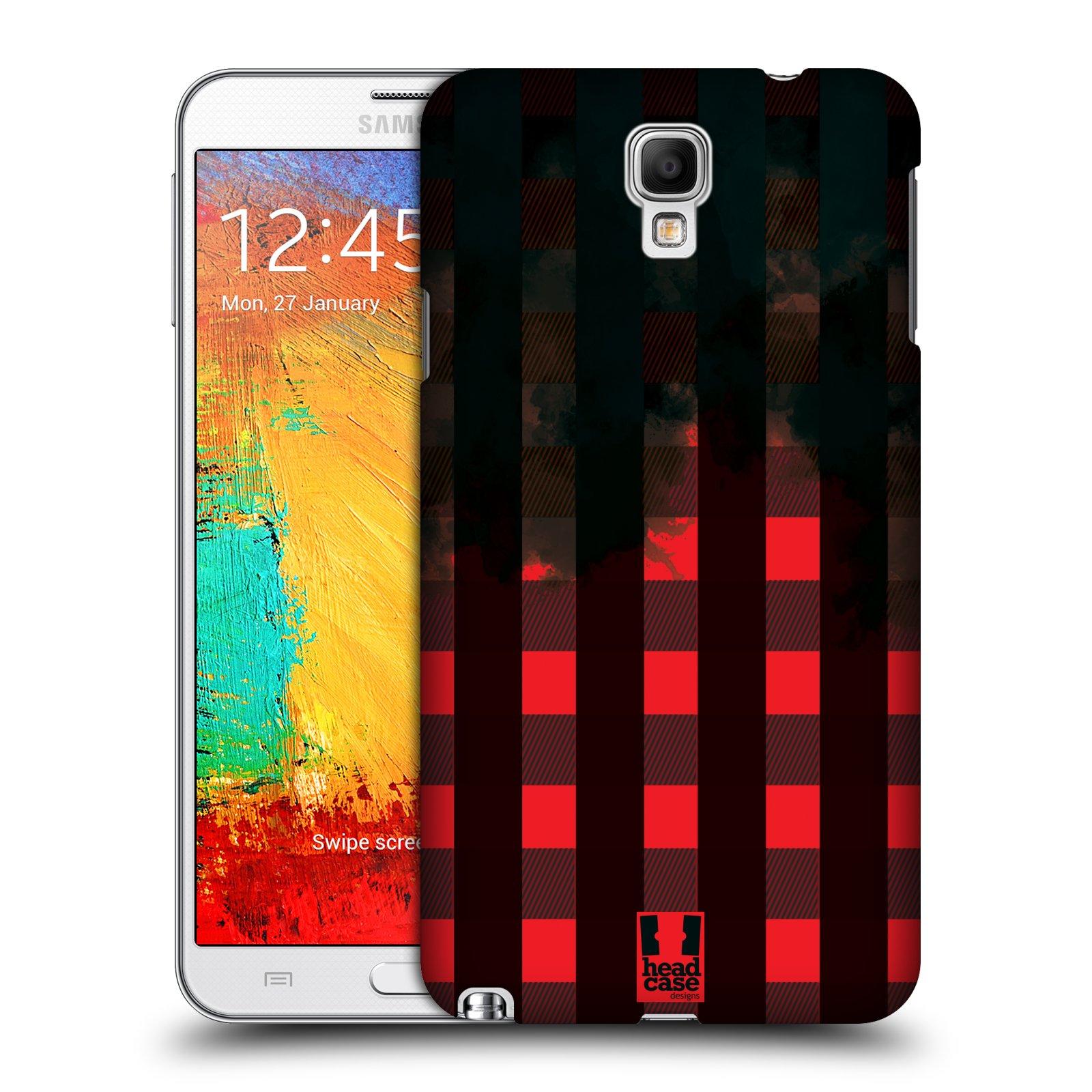 Plastové pouzdro na mobil Samsung Galaxy Note 3 Neo HEAD CASE FLANEL RED BLACK (Kryt či obal na mobilní telefon Samsung Galaxy Note 3 Neo SM-N7505)