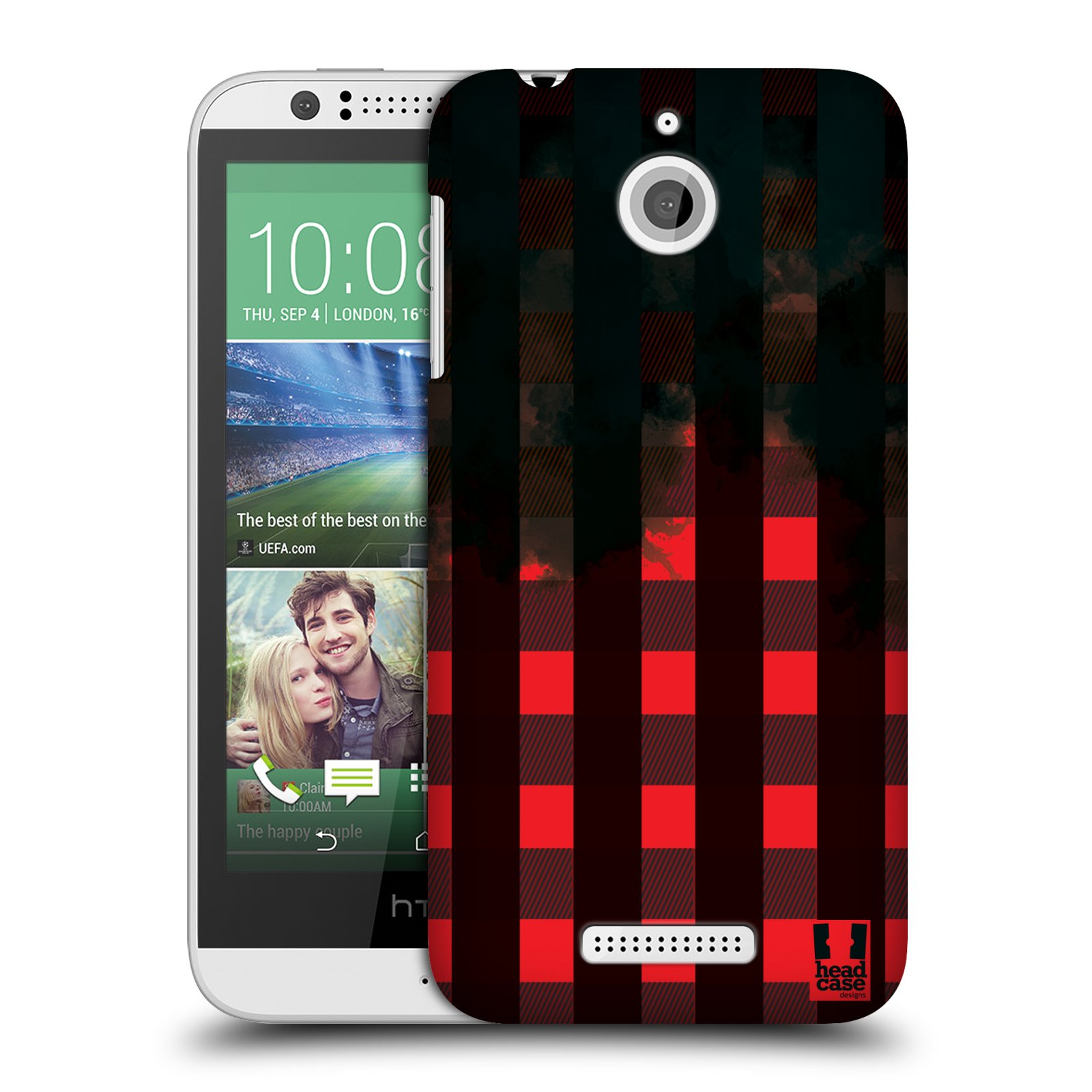 Plastové pouzdro na mobil HTC Desire 510 HEAD CASE FLANEL RED BLACK (Kryt či obal na mobilní telefon HTC Desire 510)