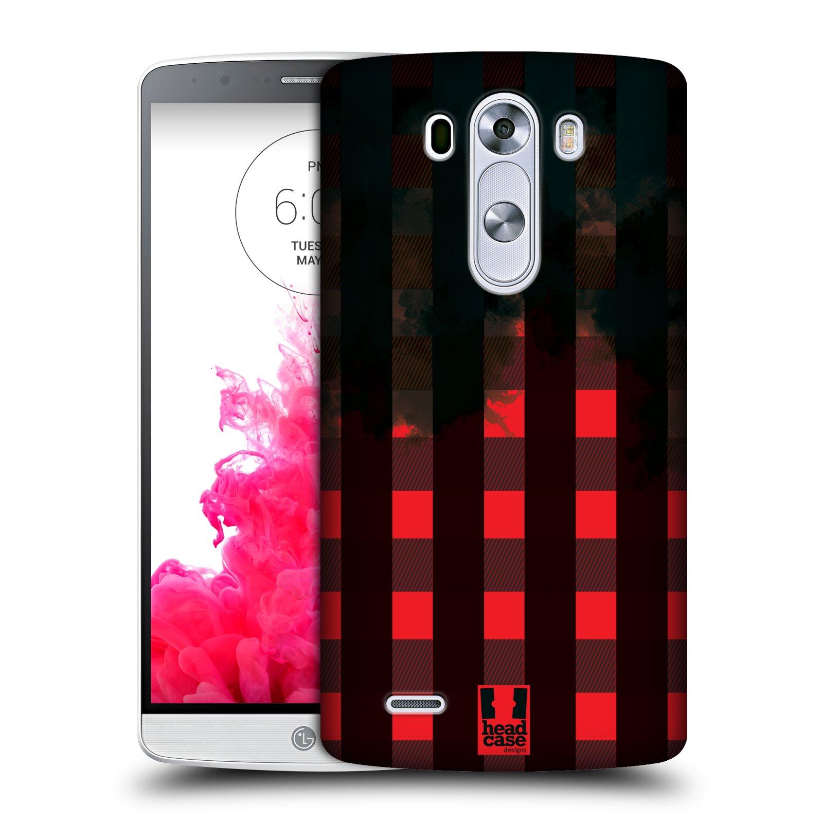 Plastové pouzdro na mobil LG G3 HEAD CASE FLANEL RED BLACK (Kryt či obal na mobilní telefon LG G3 D855)