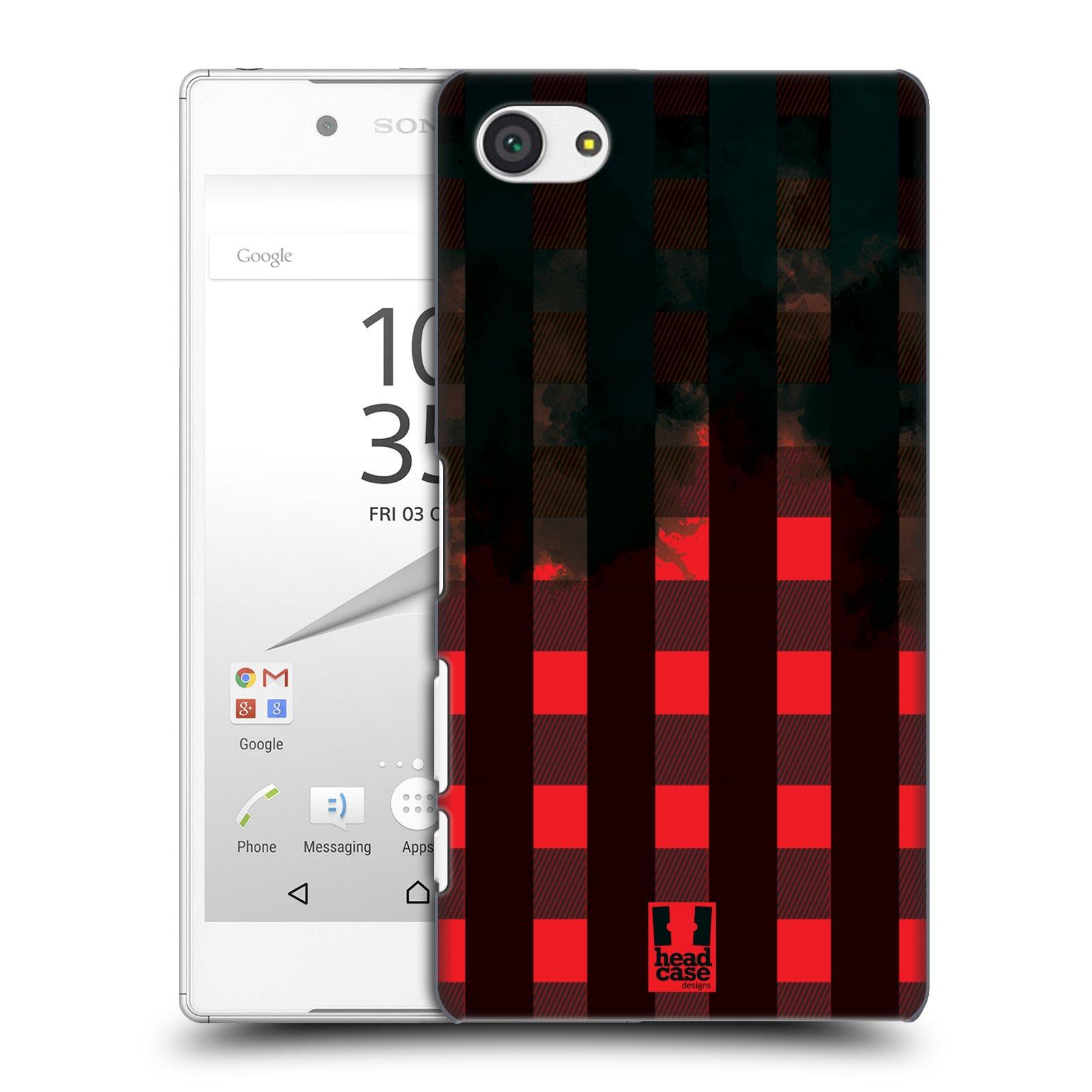 Plastové pouzdro na mobil Sony Xperia Z5 Compact HEAD CASE FLANEL RED BLACK (Kryt či obal na mobilní telefon Sony Xperia Z5 Compact E5823)