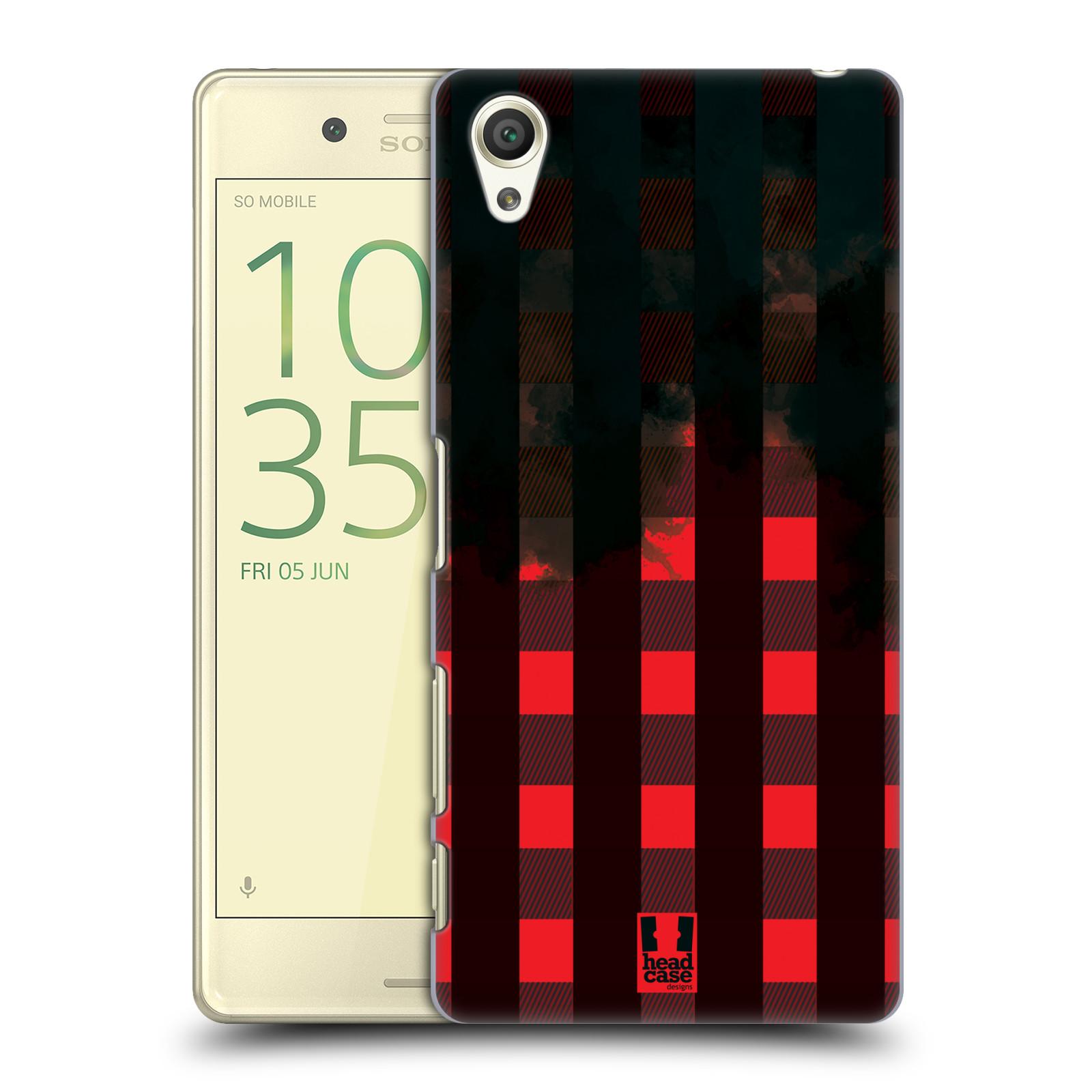 Plastové pouzdro na mobil Sony Xperia X HEAD CASE FLANEL RED BLACK (Plastový kryt či obal na mobilní telefon Sony Xperia X F5121 / Dual F5122)