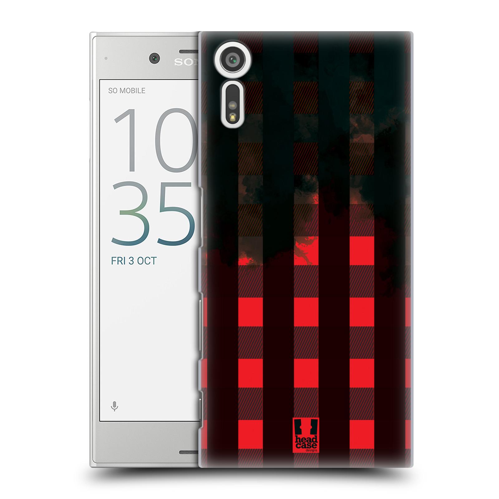 Plastové pouzdro na mobil Sony Xperia XZ - Head Case FLANEL RED BLACK (Plastový kryt či obal na mobilní telefon Sony Xperia XZ F8331 / Sony Xperia XZ Dual F8332)