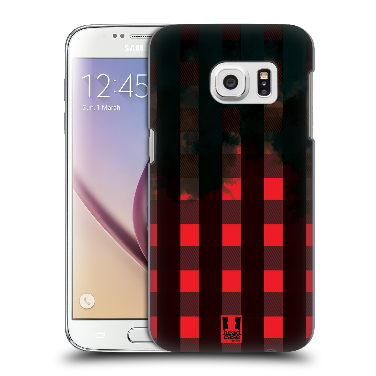 Plastové pouzdro na mobil Samsung Galaxy S7 HEAD CASE FLANEL RED BLACK (Kryt či obal na mobilní telefon Samsung Galaxy S7 SM-G930F)